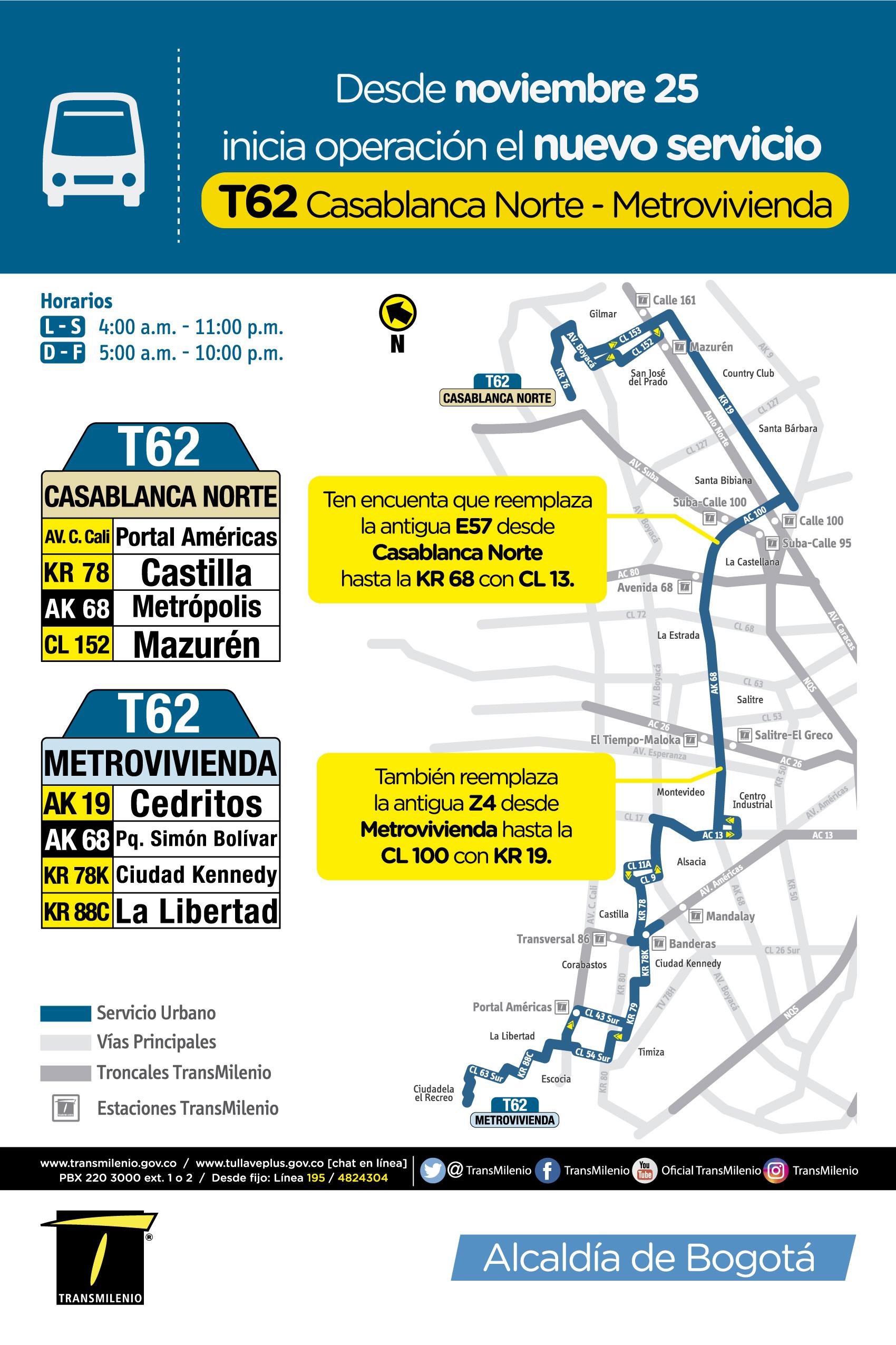 Mapa del a ruta T62