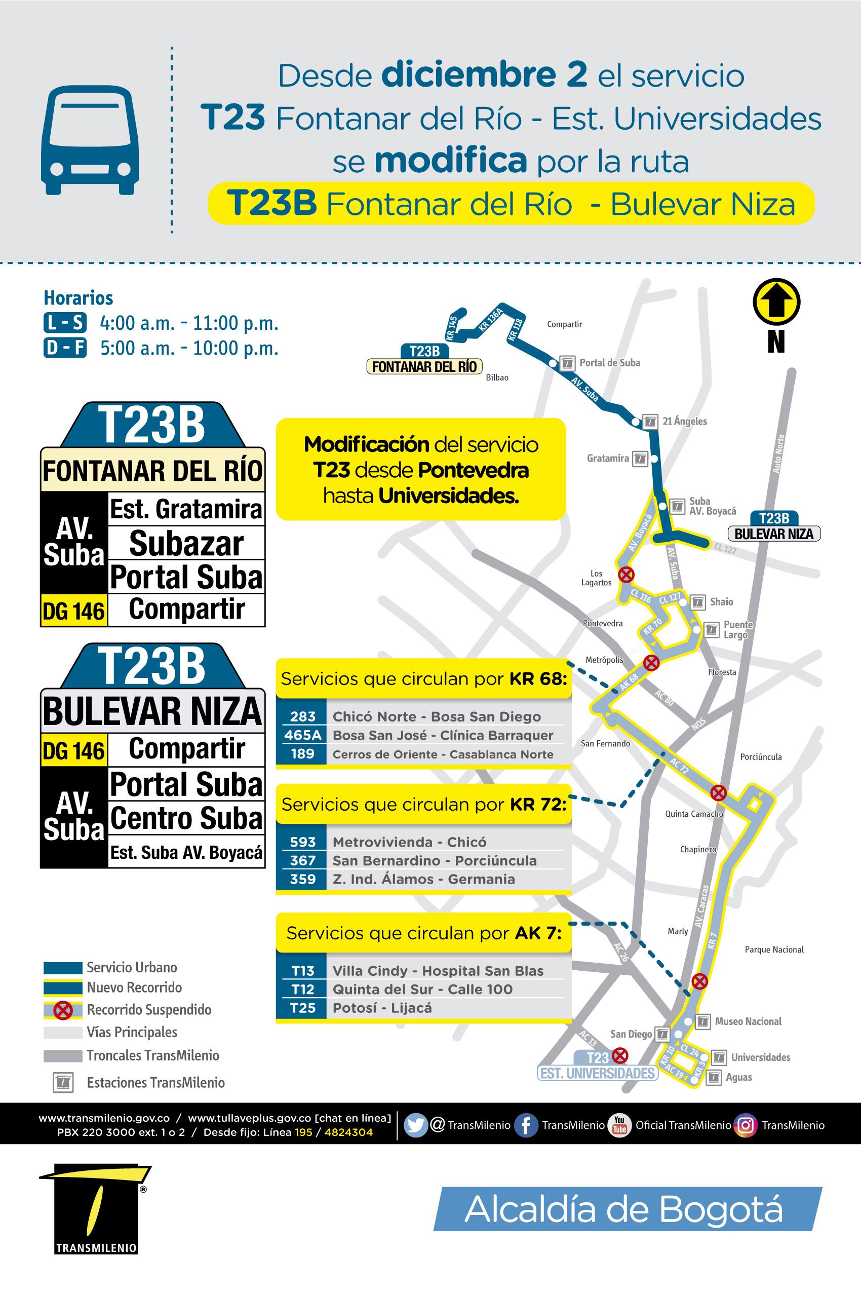 Mapa de la ruta TC23 cambia a TC23B