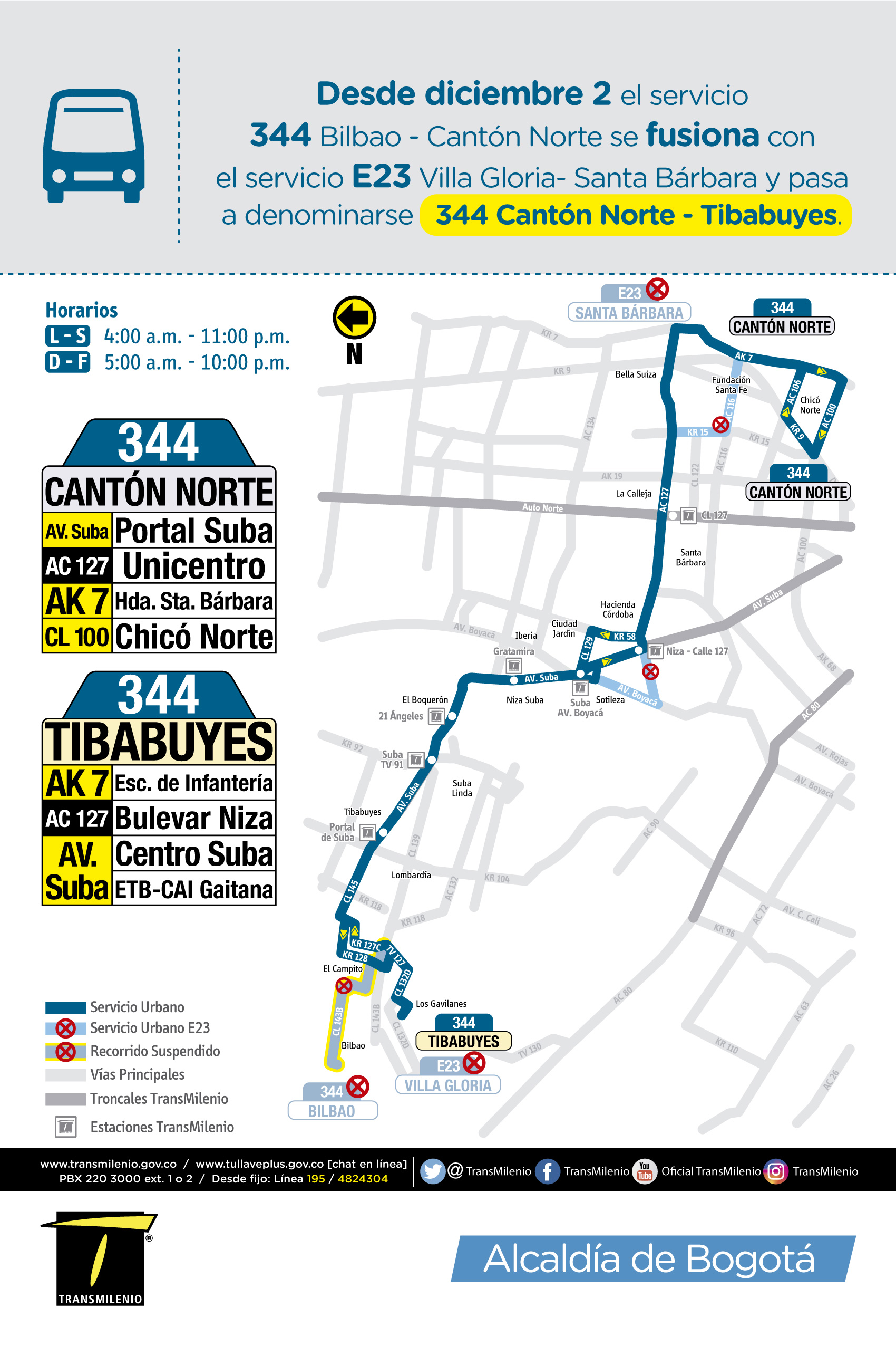 Mapa del recorrido de la ruta 344