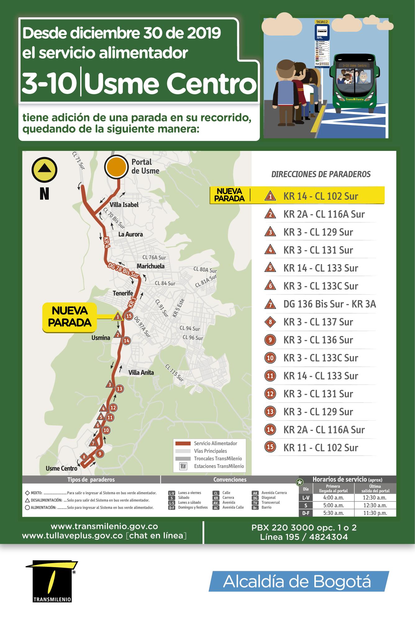 Mapa de la ruta 3-10 Usme Centro con nueva parada