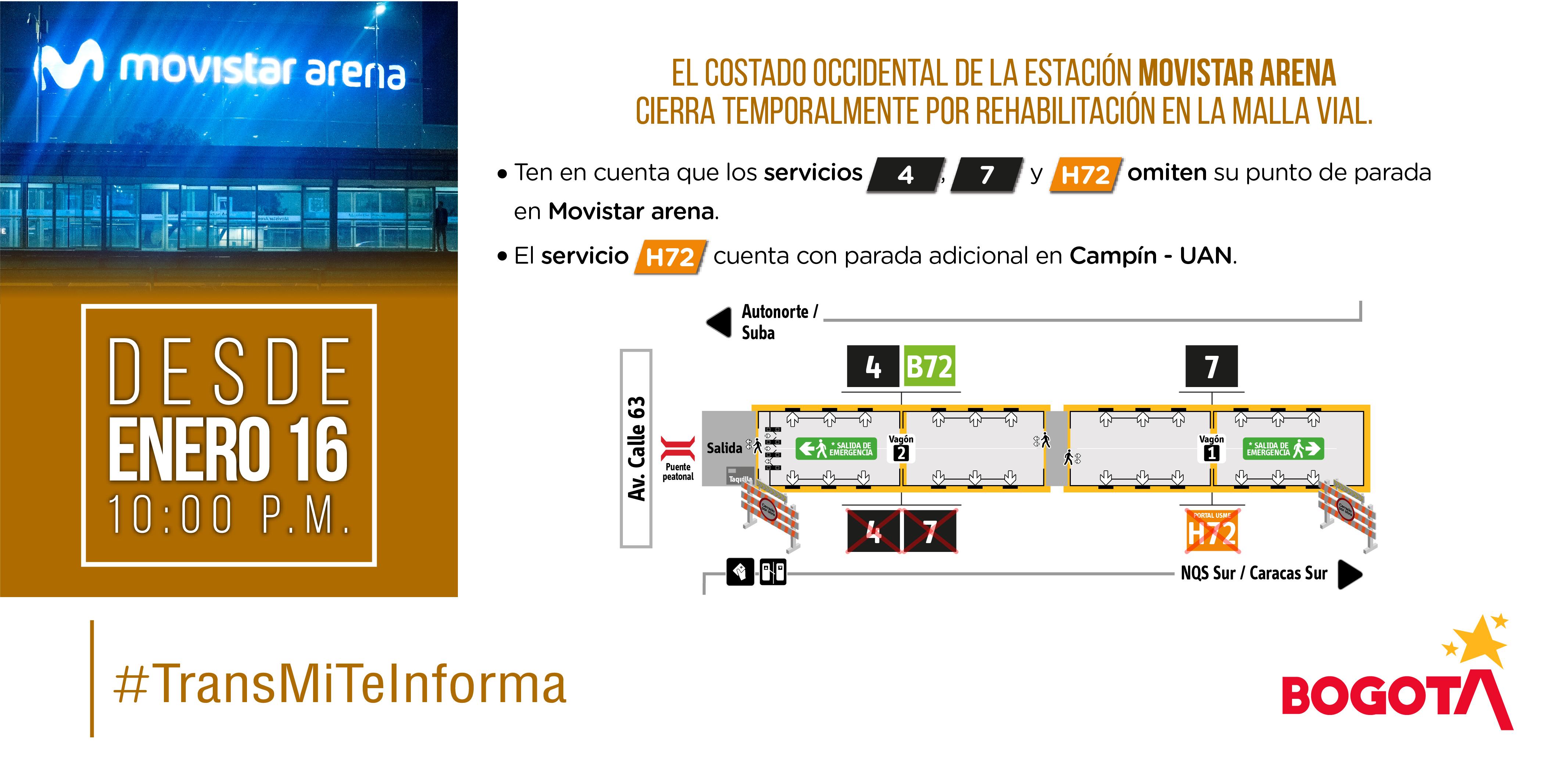 Plano de estación de Movistar Arena