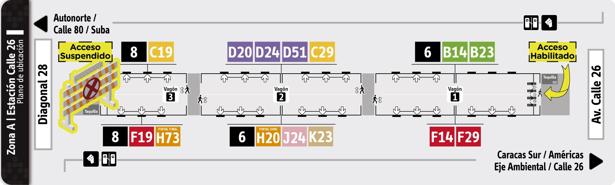 Plano de estación Calle 26