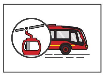 Bus de TransMilenio y cono de TransMiCable