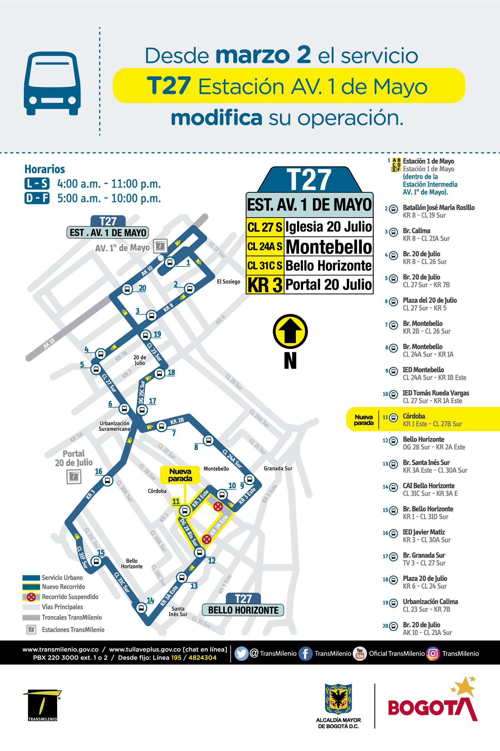 Mapa de la ruta T27 con ajuste operacional