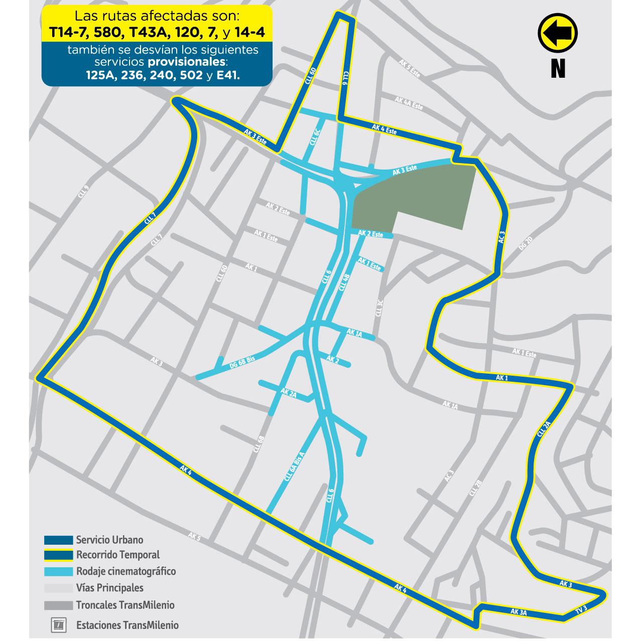 Mapa del desvíos de las rutas urbanas por rodaje de película