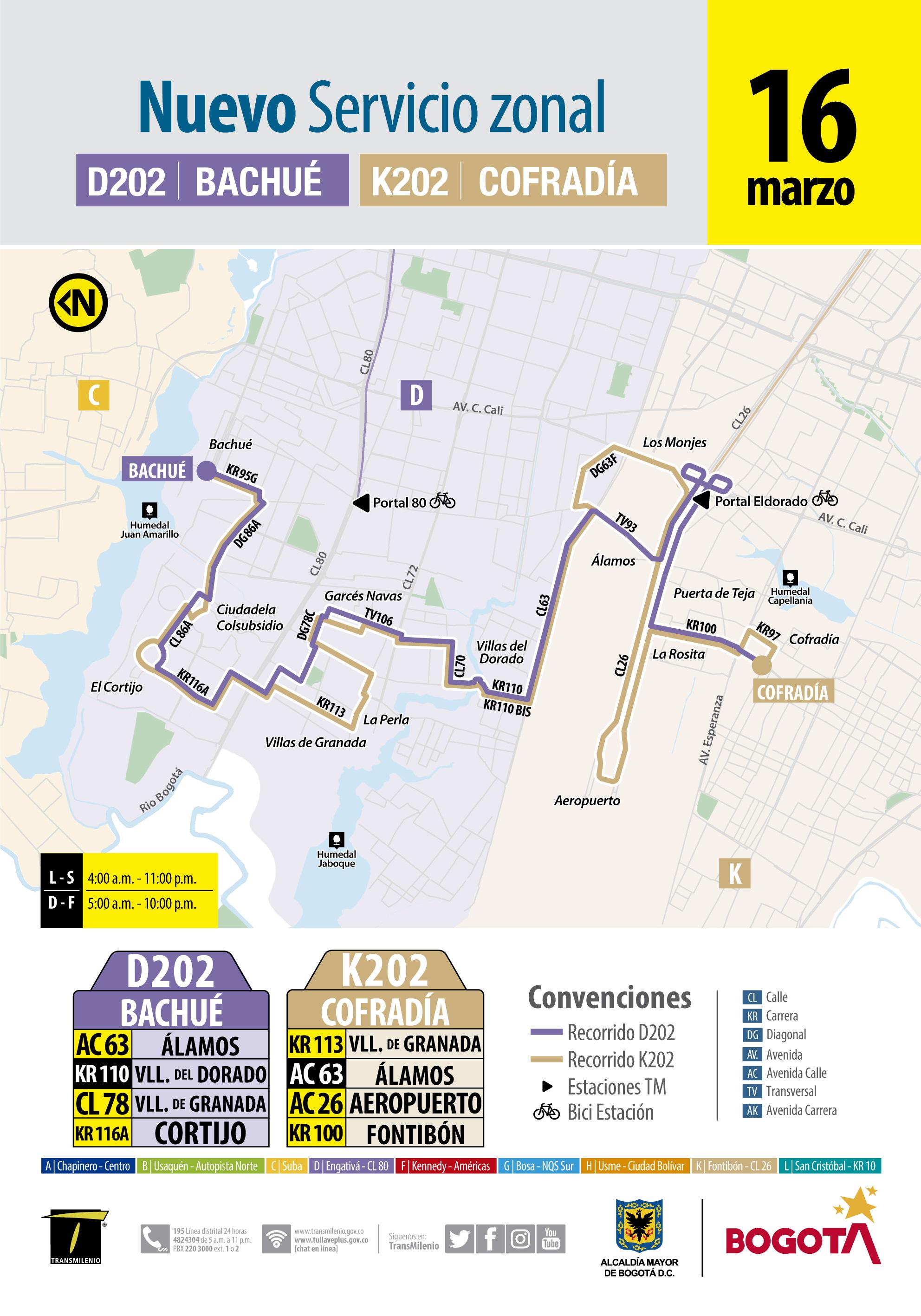 Información de la ruta urbanas D202 , K202