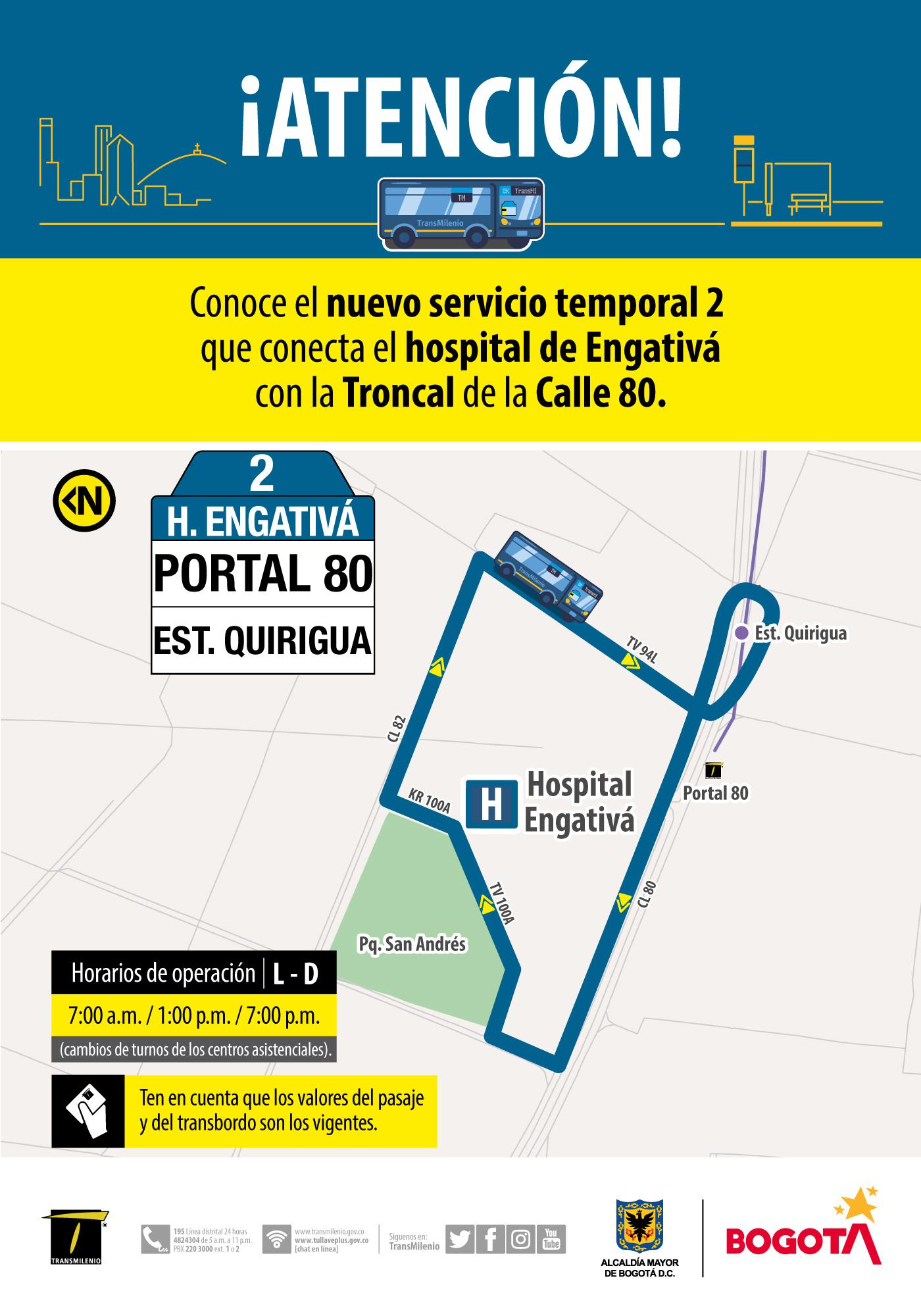 Ruta 2, servicio urbano Hospital Engativá