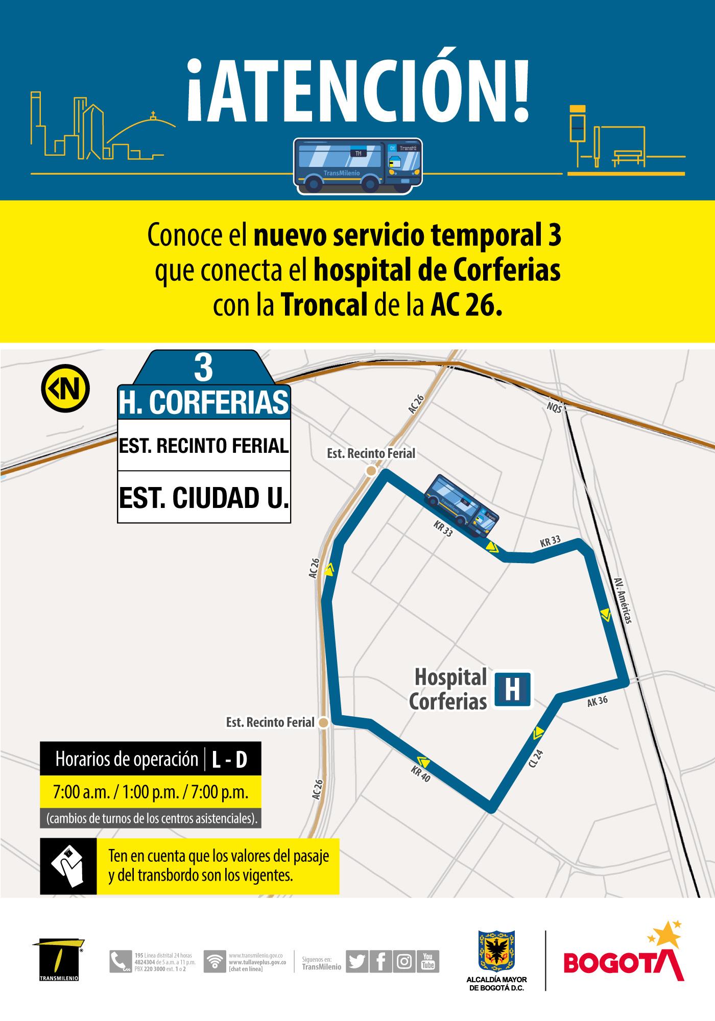 Ruta 3, servicio urbano Hospital Corferias