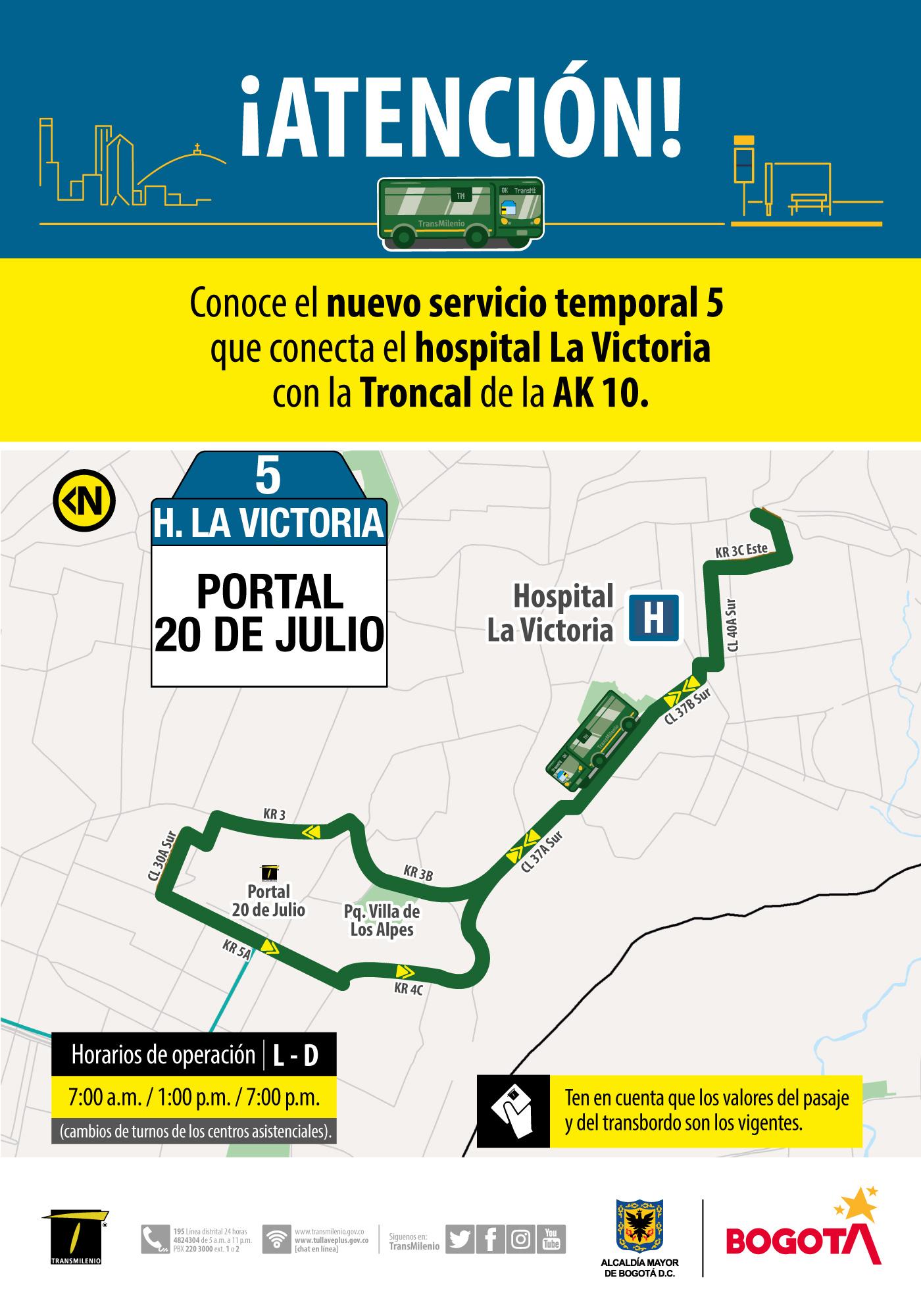 Ruta 5, servicio urbano Hospital La Victoria