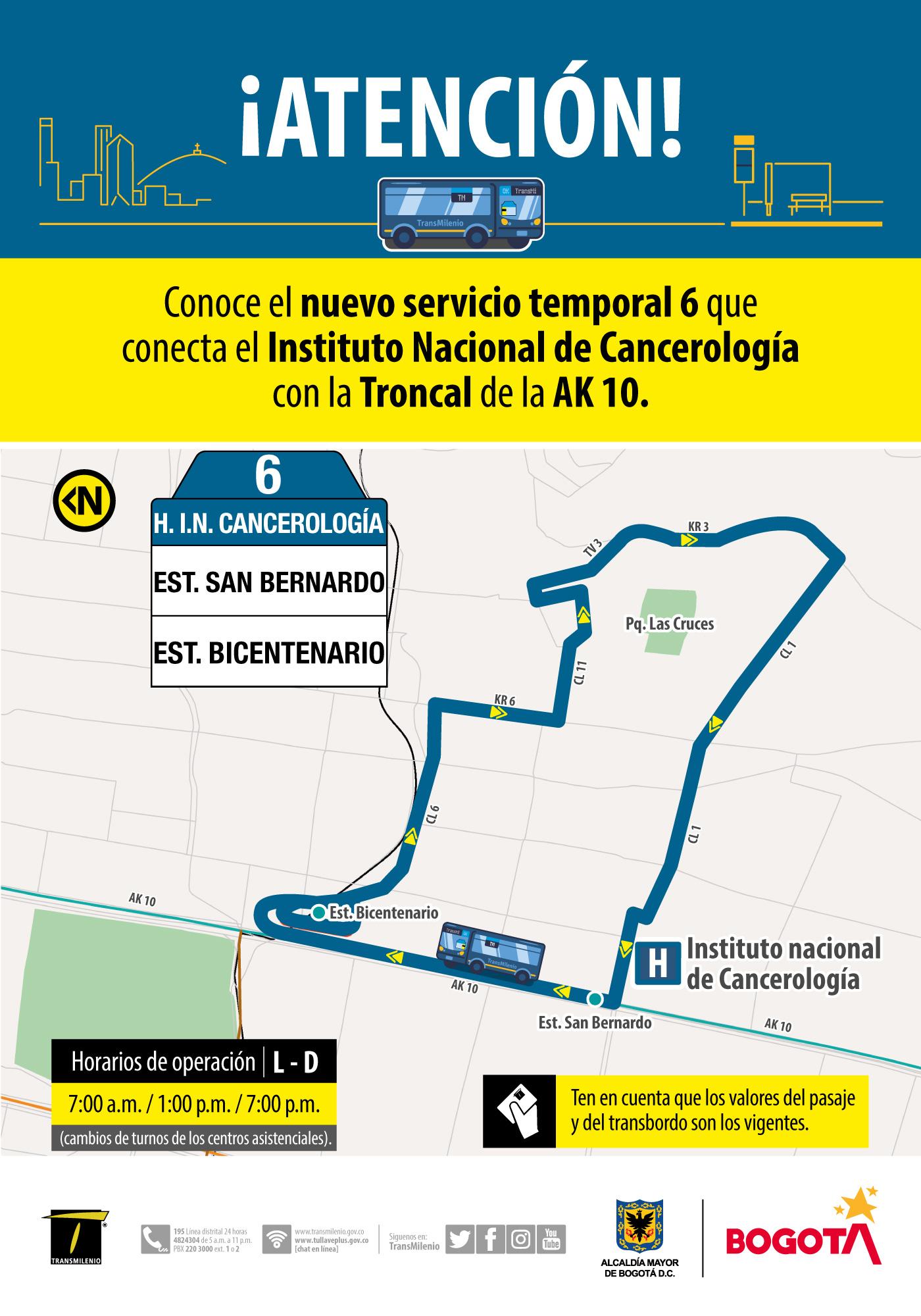 Ruta 6, servicio urbano Hospital I.N. Cancerología