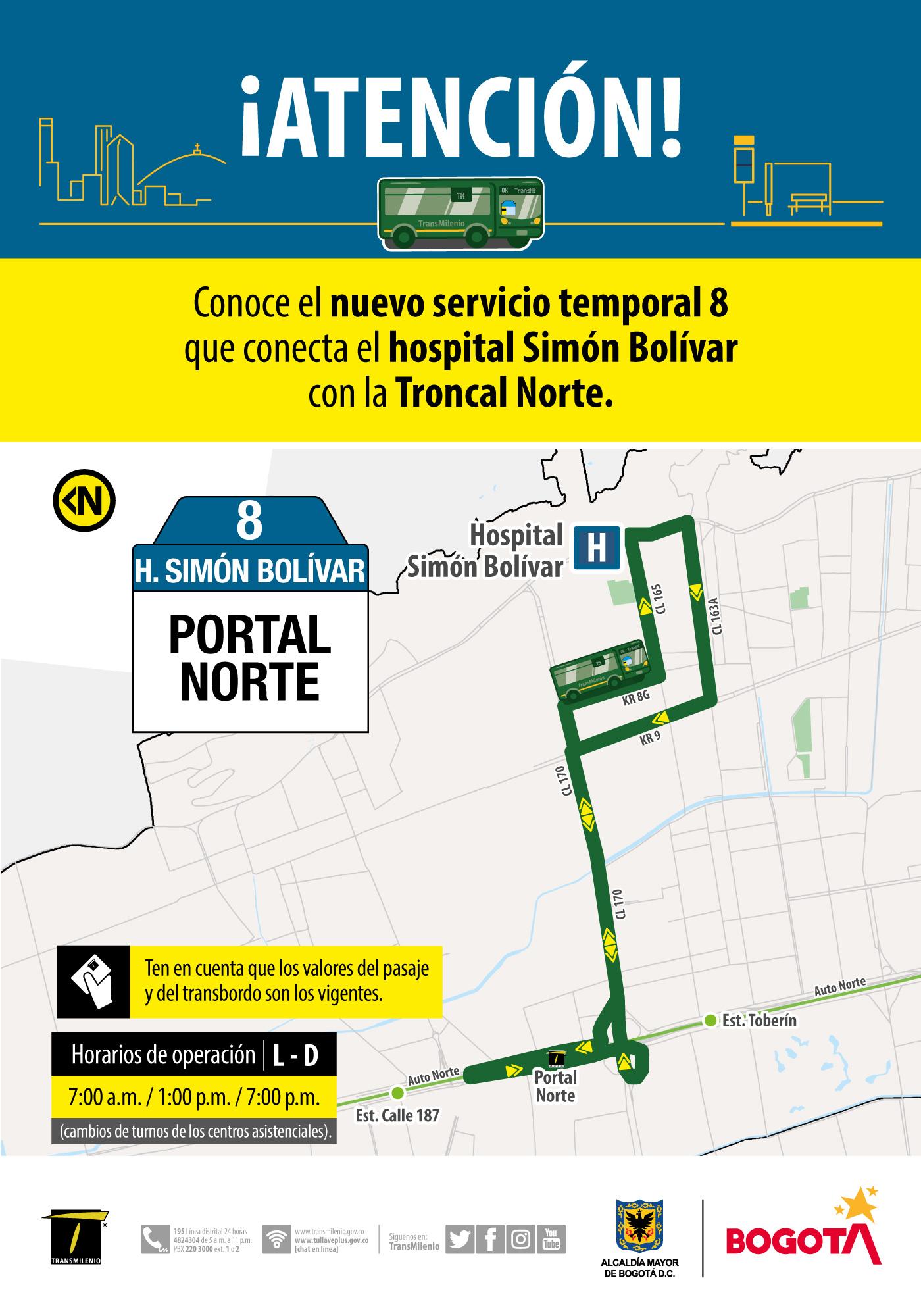 Ruta 8, servicio urbano Hospital Simón Bolívar