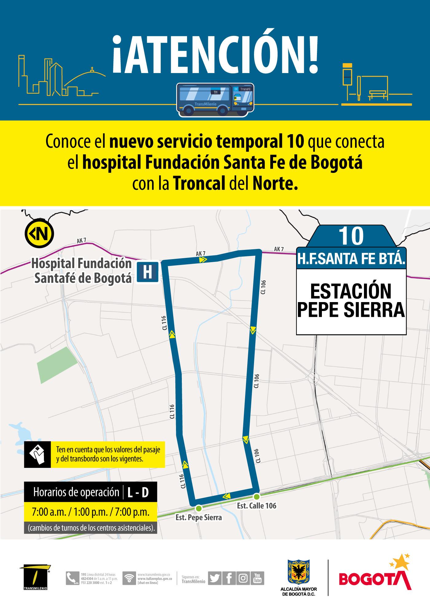 Servicio urbano Fundación Santa Fe Bogotá
