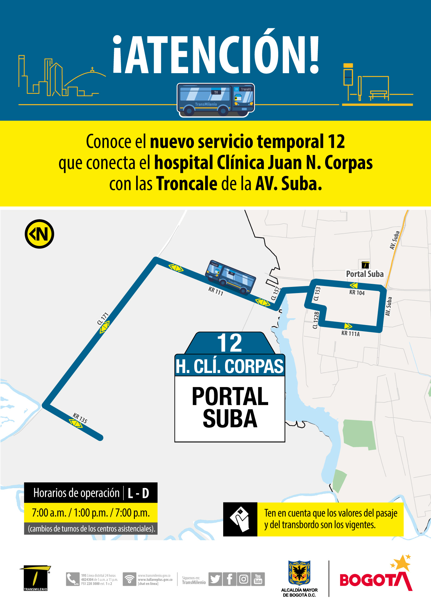 Ruta 11, servicio urbano Clínica Corpas
