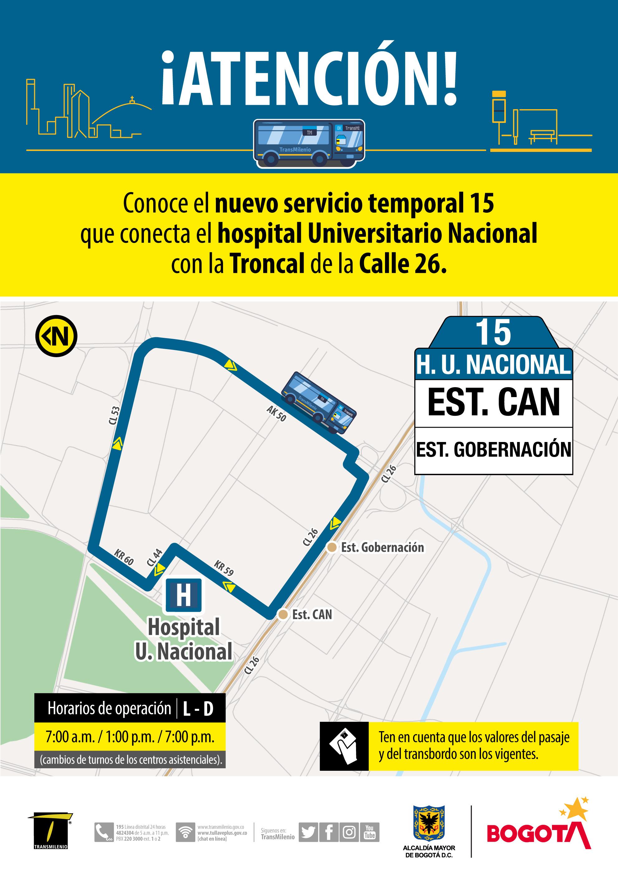 Ruta del hospital Universitario Nacional