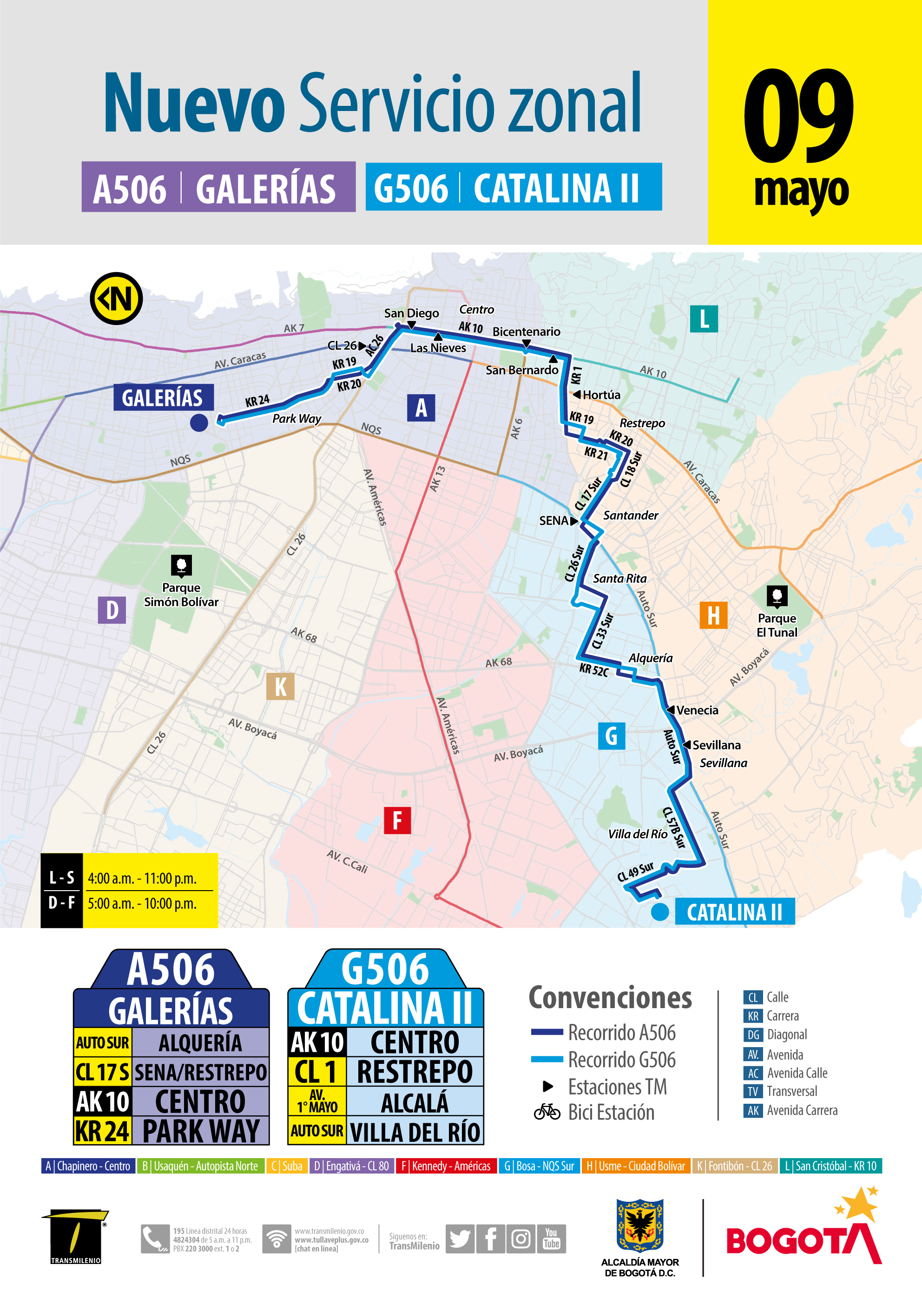 Mapa de la ruta AG 506