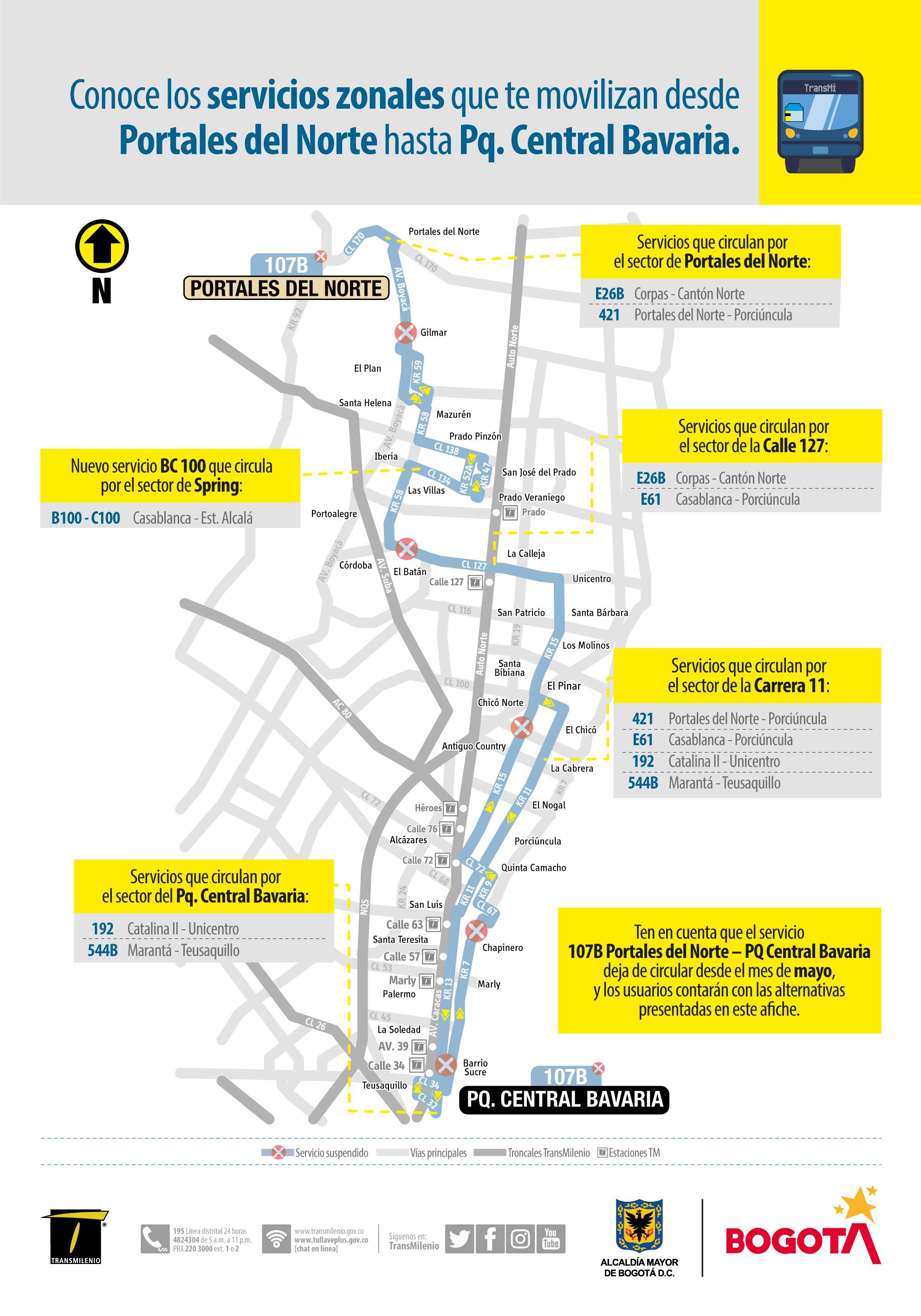 Mapa de rutas alternas para reemplazar la ruta 107B