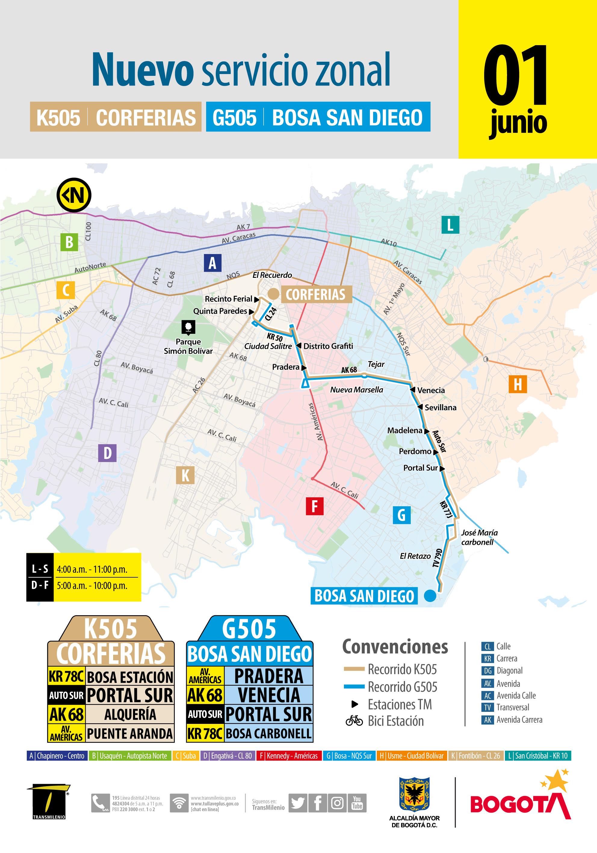 Mapa de la ruta K505 - G505