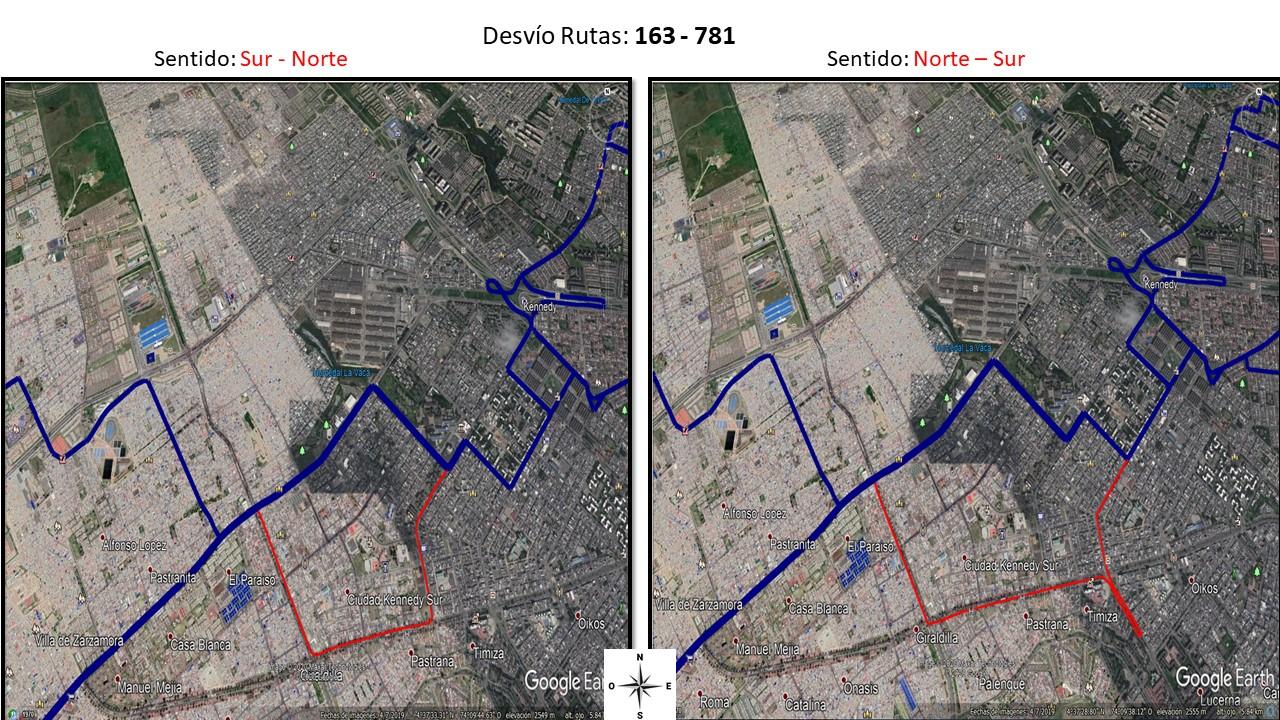 Desvío de las rutas 163  y 781  de Norte a Sur  y de Sur al Norte