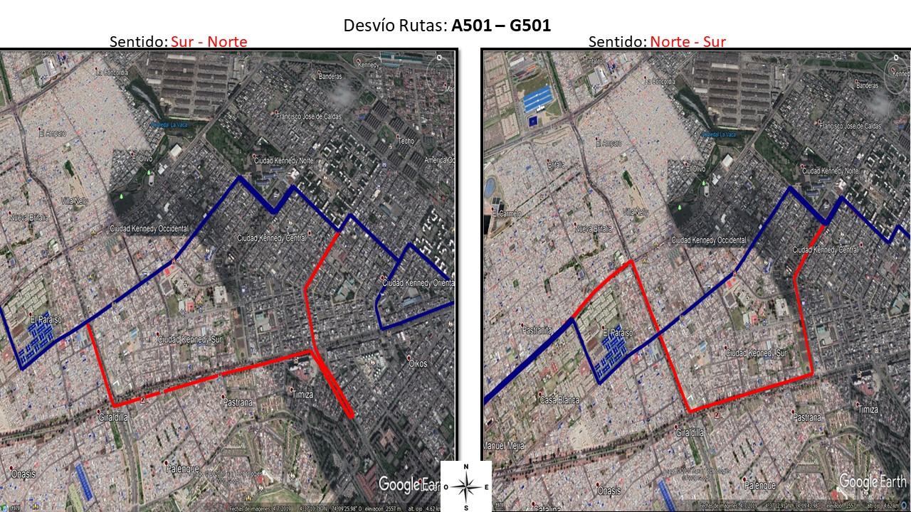 Mapa de la ruta A501 - G501