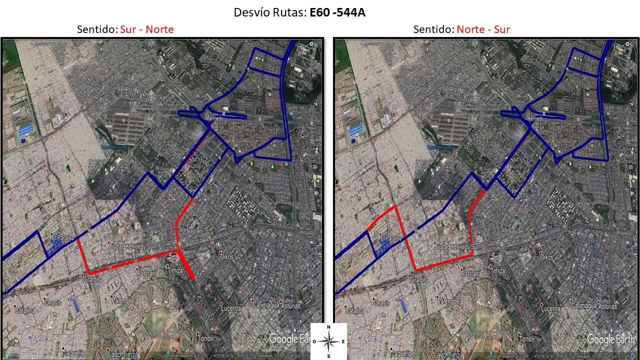Recorrido de las rutas E60 y 544A de Sur a  Norte y de Norte a Sur