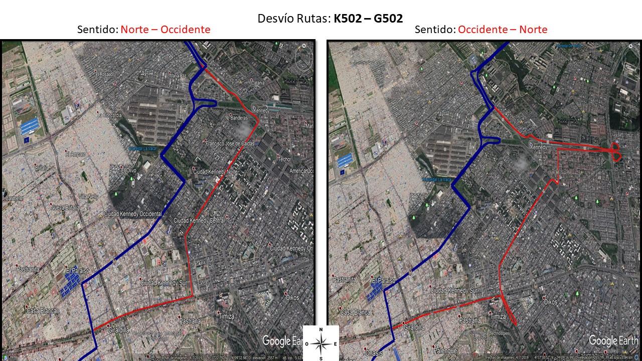 Desvío de la rutas K502 - G502 de Occidente al Norte y de Norte al Occidente