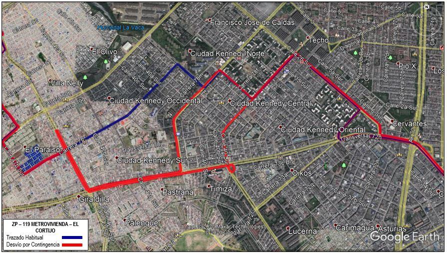 Mapa de la ruta ZP 119 Mertrovivienda El Cortijo