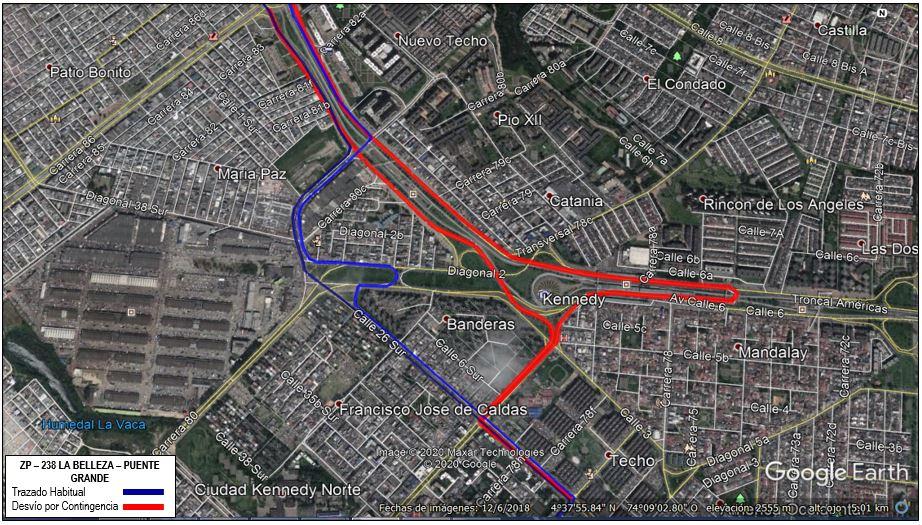 Mapa de la ruta ZP 238 con desvío en la localidad de Kennedy