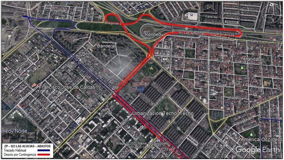 Mapa de la ruta ZP 923 con desvío en la localidad de Kennedy