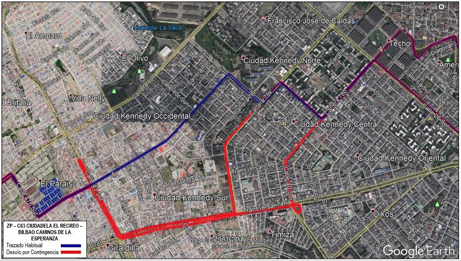 Modificaciones del recorrido de la ruta ZP-C63 Ciudadela El Recreo - Bilbao Caminos De La Esperanza