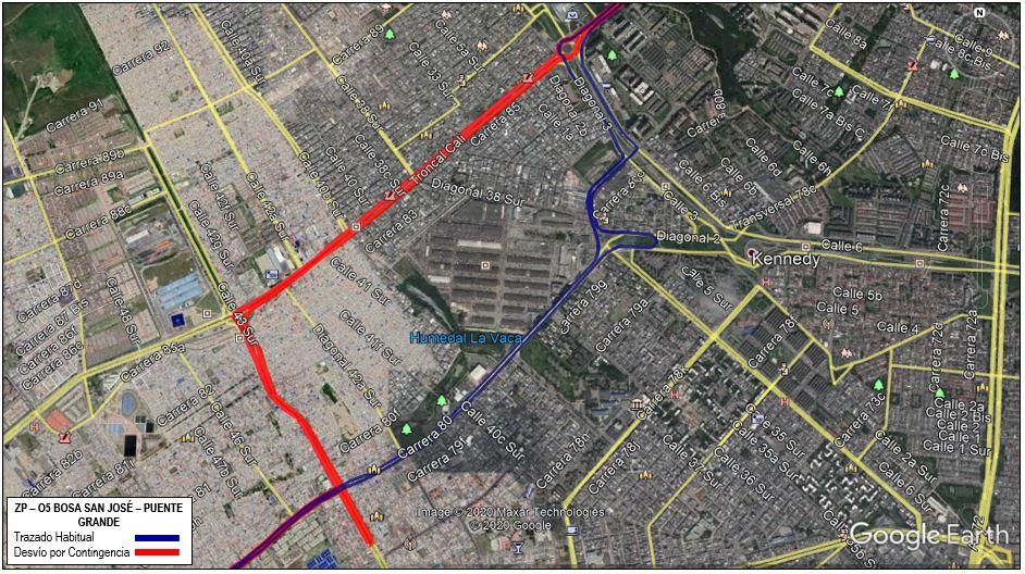 Mapa de la ruta ZP-O5 Bosa San José - Puente Grande con desvío en Kennedy