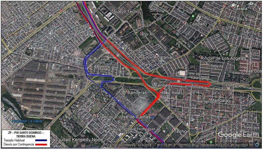 Mapa de la ruta ZP-P40 Santo Domingo - Tierra Buena con desvios en la localidad de Kennedy