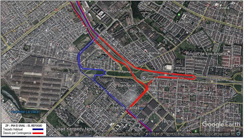 Mapa de la ruta ZP-P64 El Uval - El Refugio