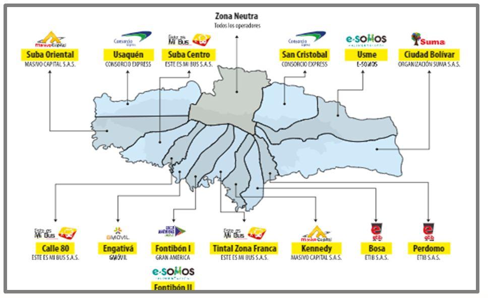 Mapa con las zonas de  las empresas operadoras