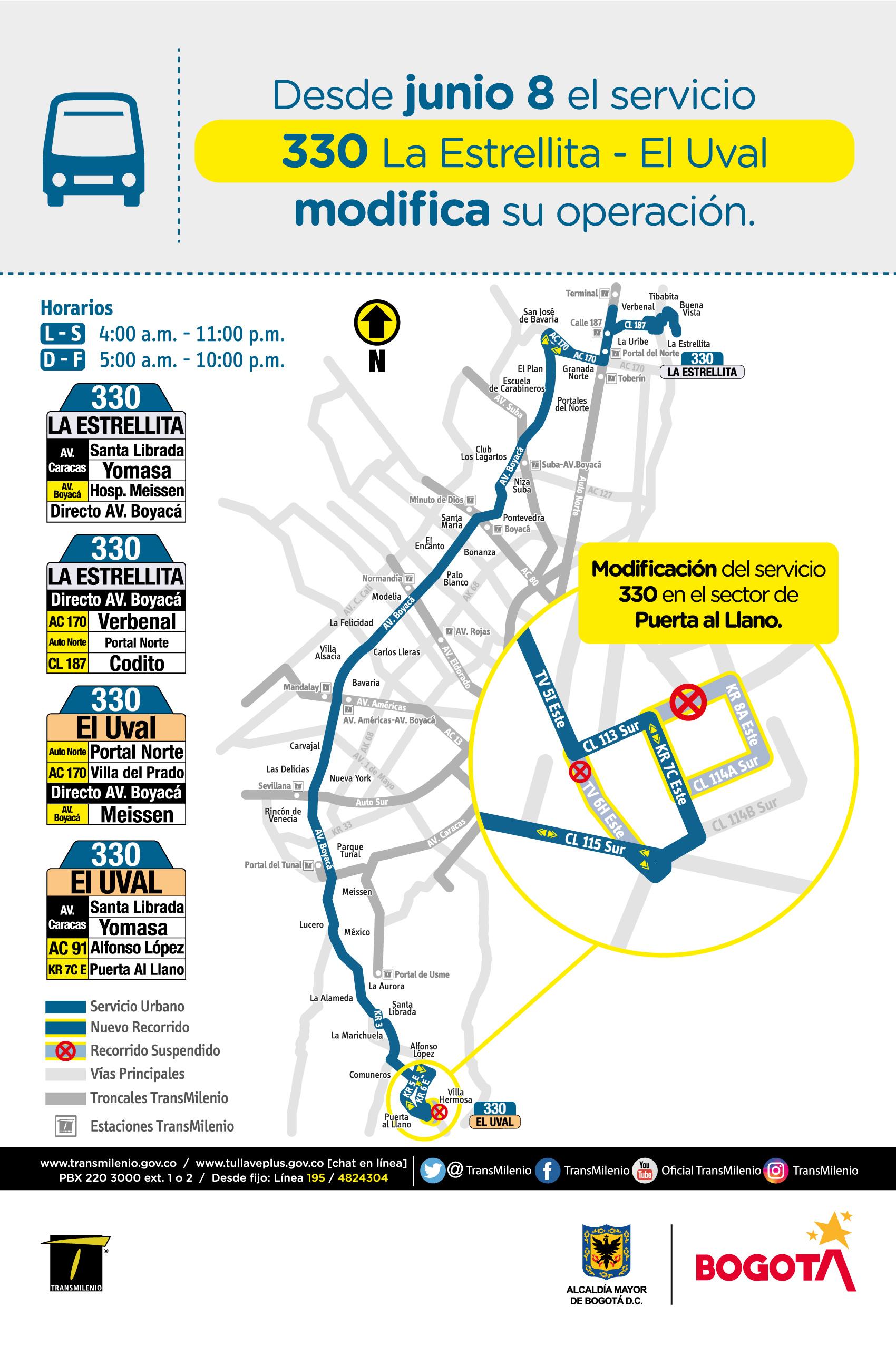 Mapa de la Ruta 330 La Estrella El Uval