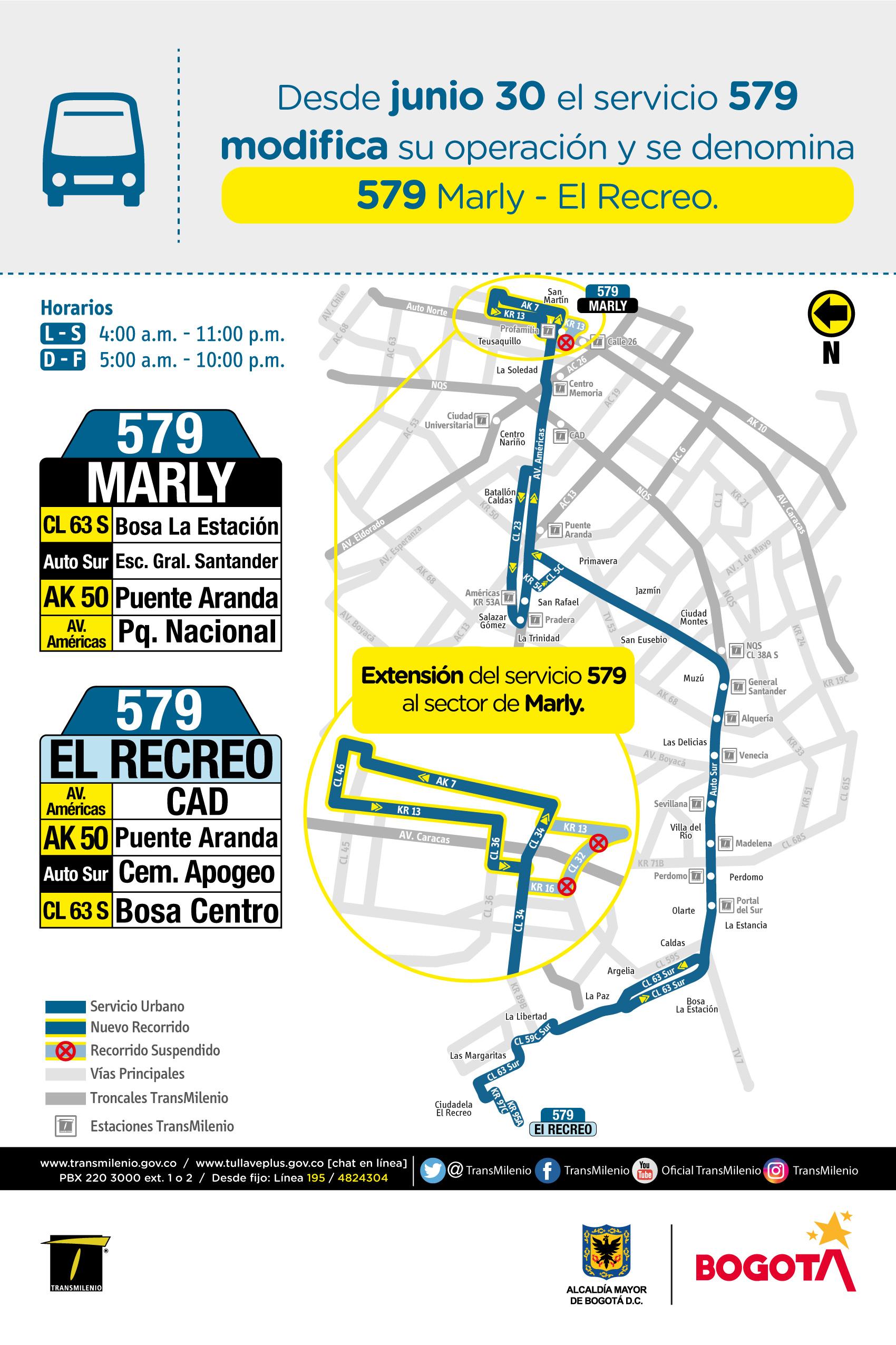 Mapa de la ruta 579 con modificaciones operacionales