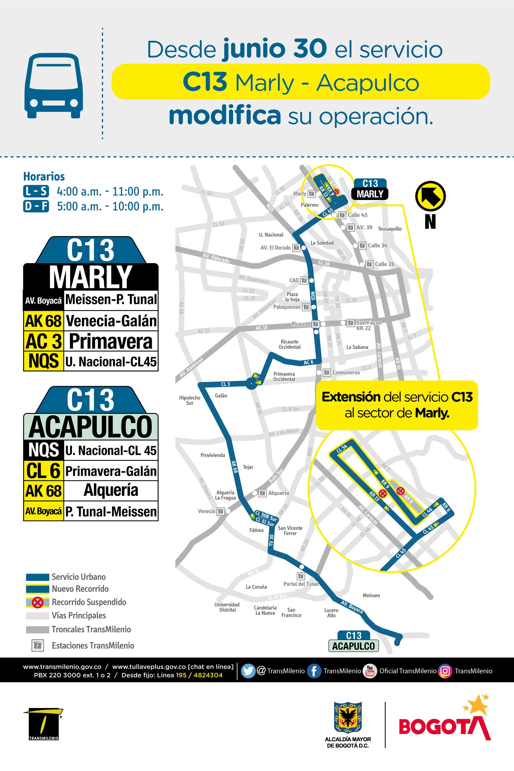 Mapa de la ruta C13 con modificaciones operacionales