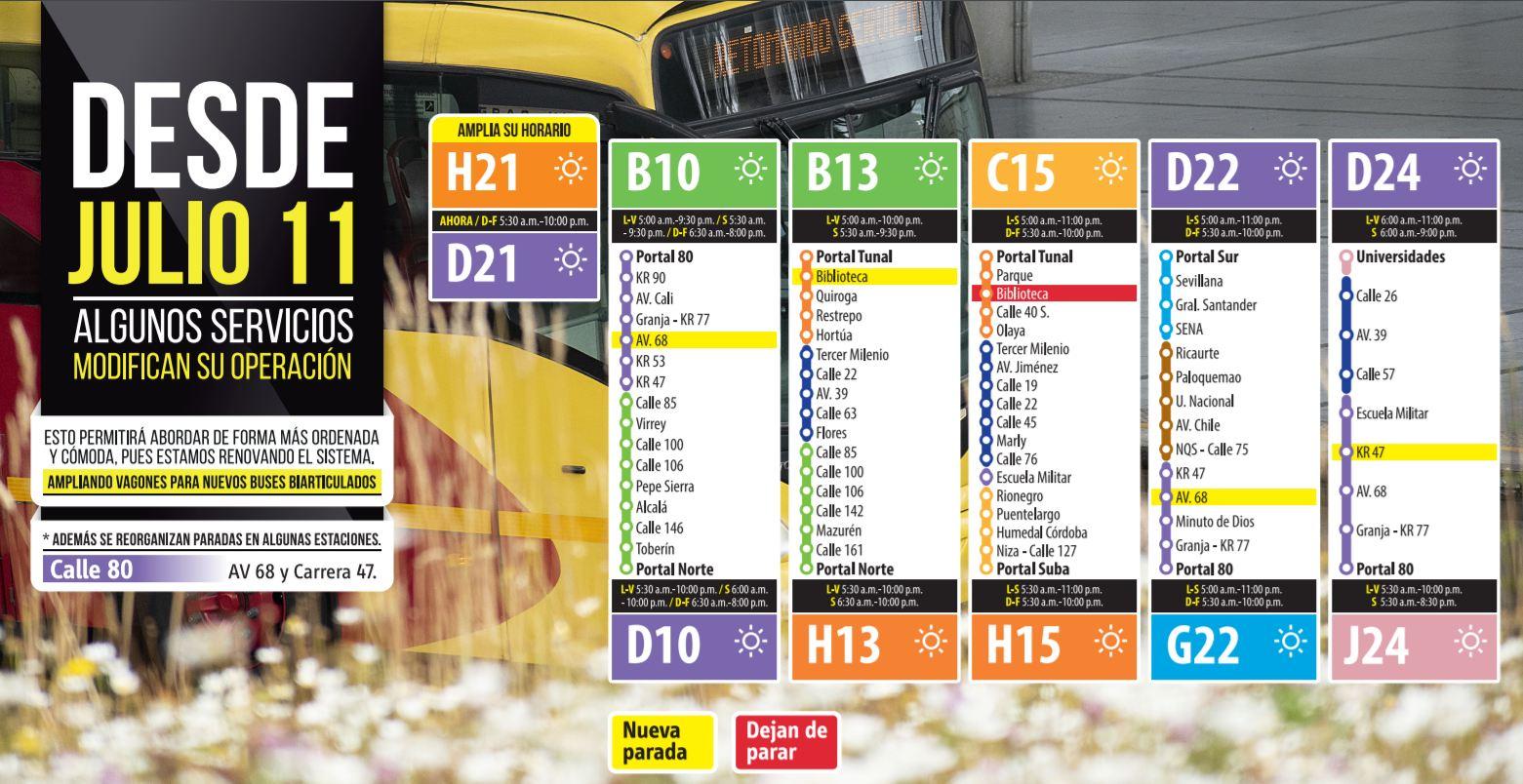 Cambios operacionales de rutas troncales: H21-D21, B10-D10, B13-H13, C15-H15, D22-G22, D24-J24