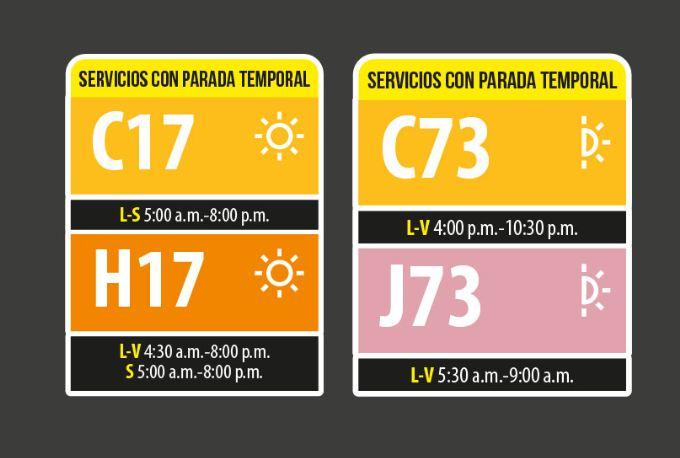 Horarios de los servicios C17-H17 y C73-J73