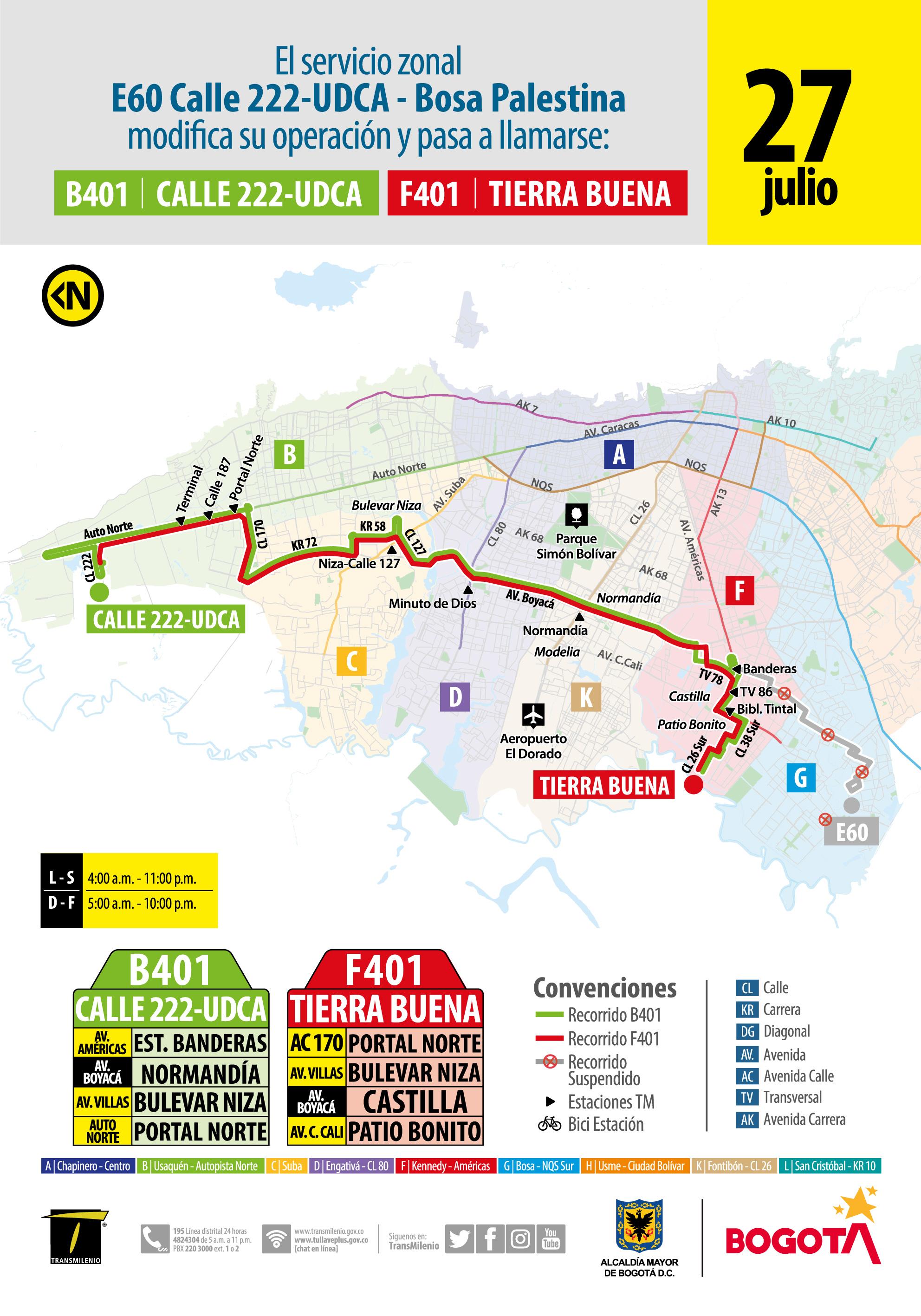 Mapa de la ruta B401-F401