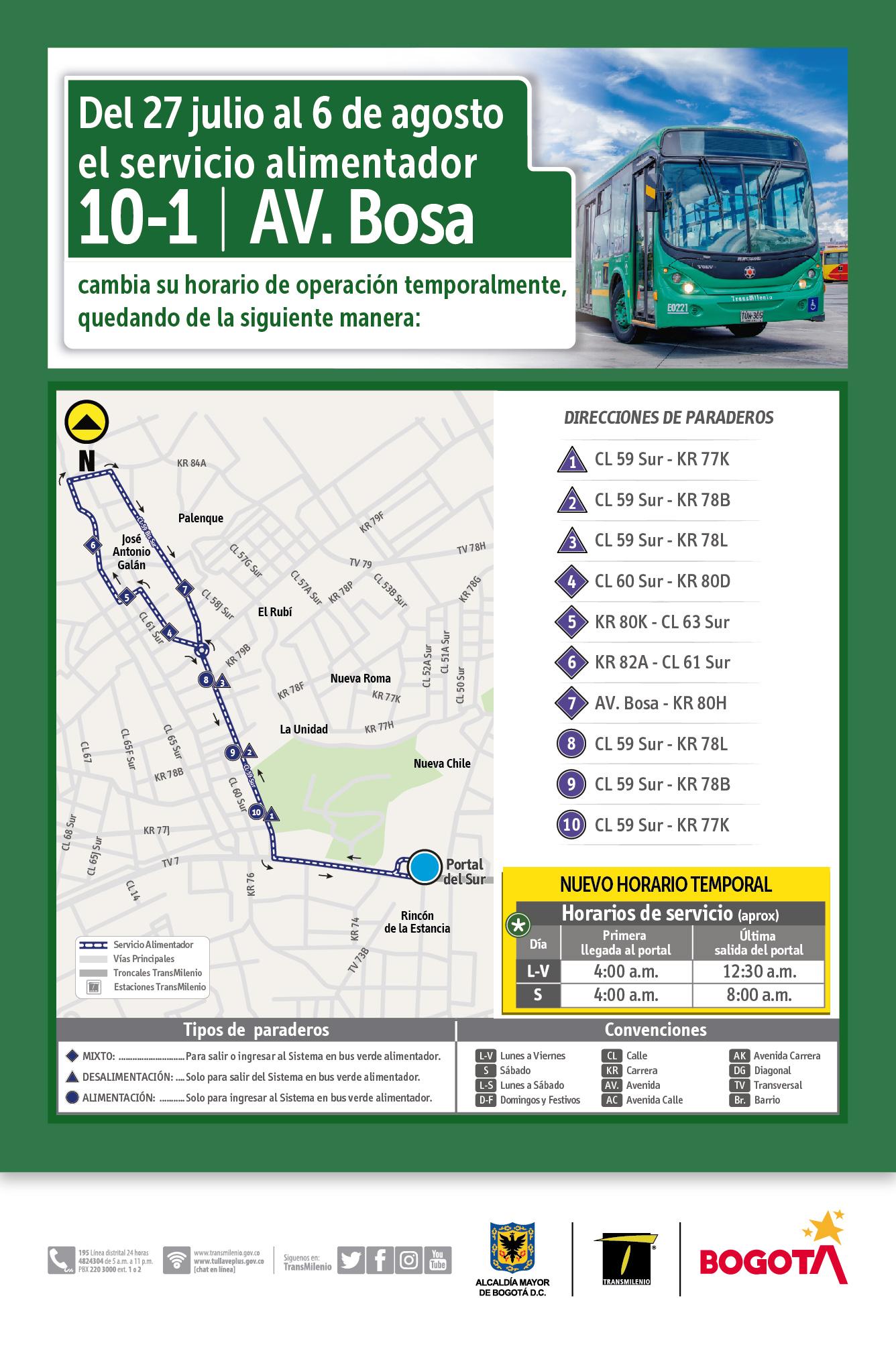 Mapa de la ruta 10-1 y el horario temporal de funcionamiento