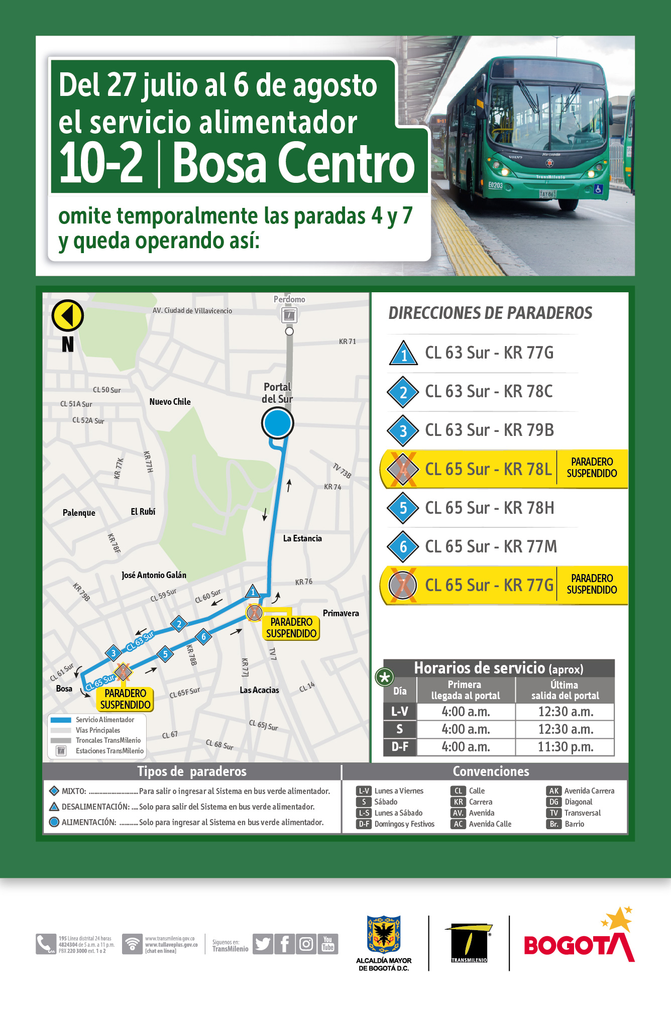 Mapa de  la ruta 10-2 con novedad de sus paraderos
