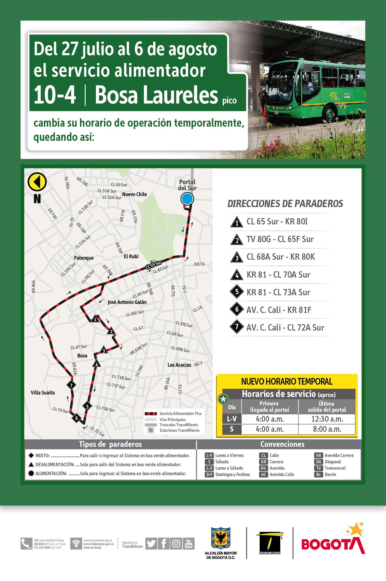 Mapa de la ruta 10-4 hora pico y el horario temporal de funcionamiento