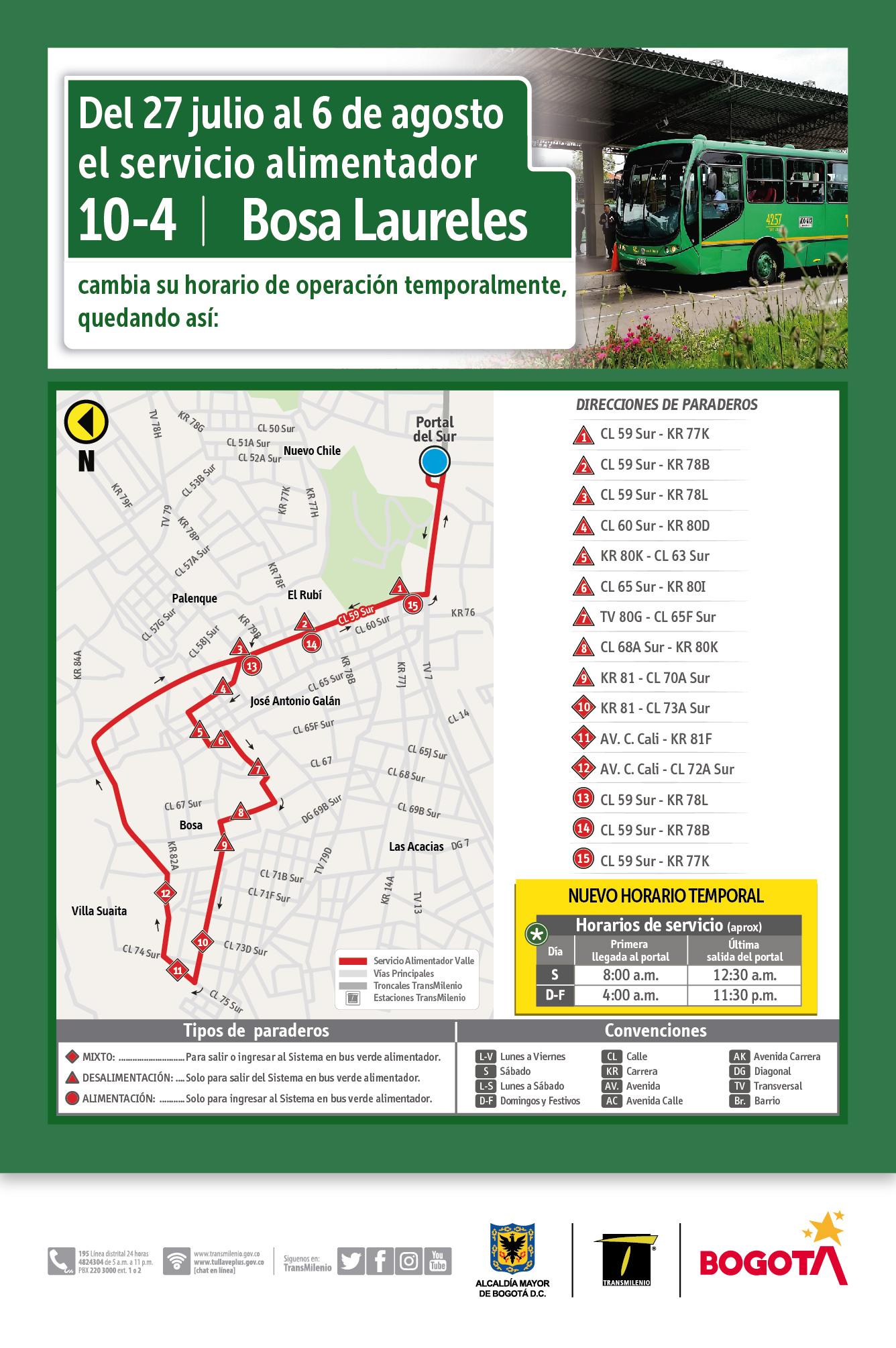 Mapa de la ruta 10-4 hora valle y el horario temporal de funcionamiento