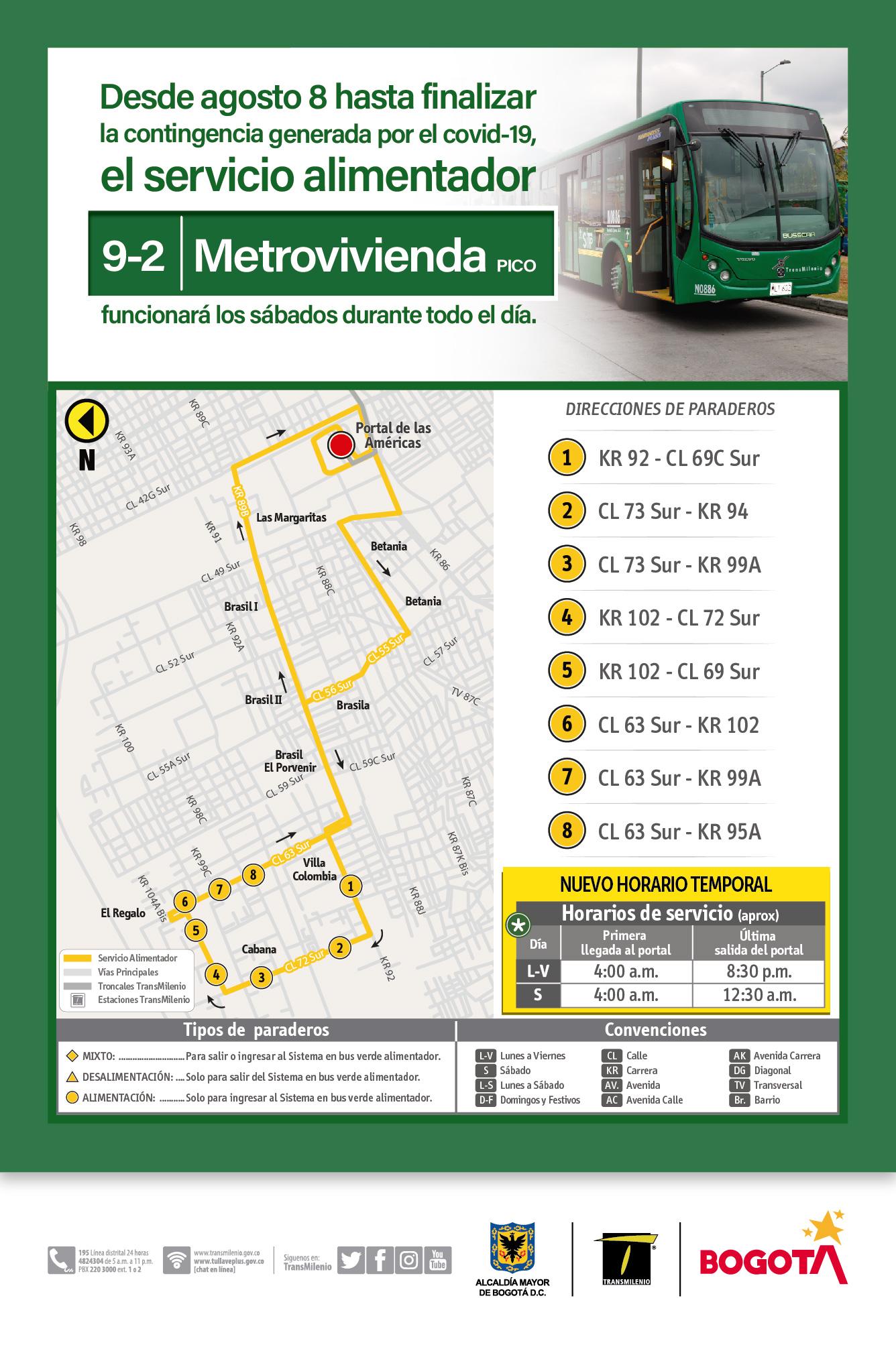 Mapa de la ruta 9-2 Metrovivienda hora Pico