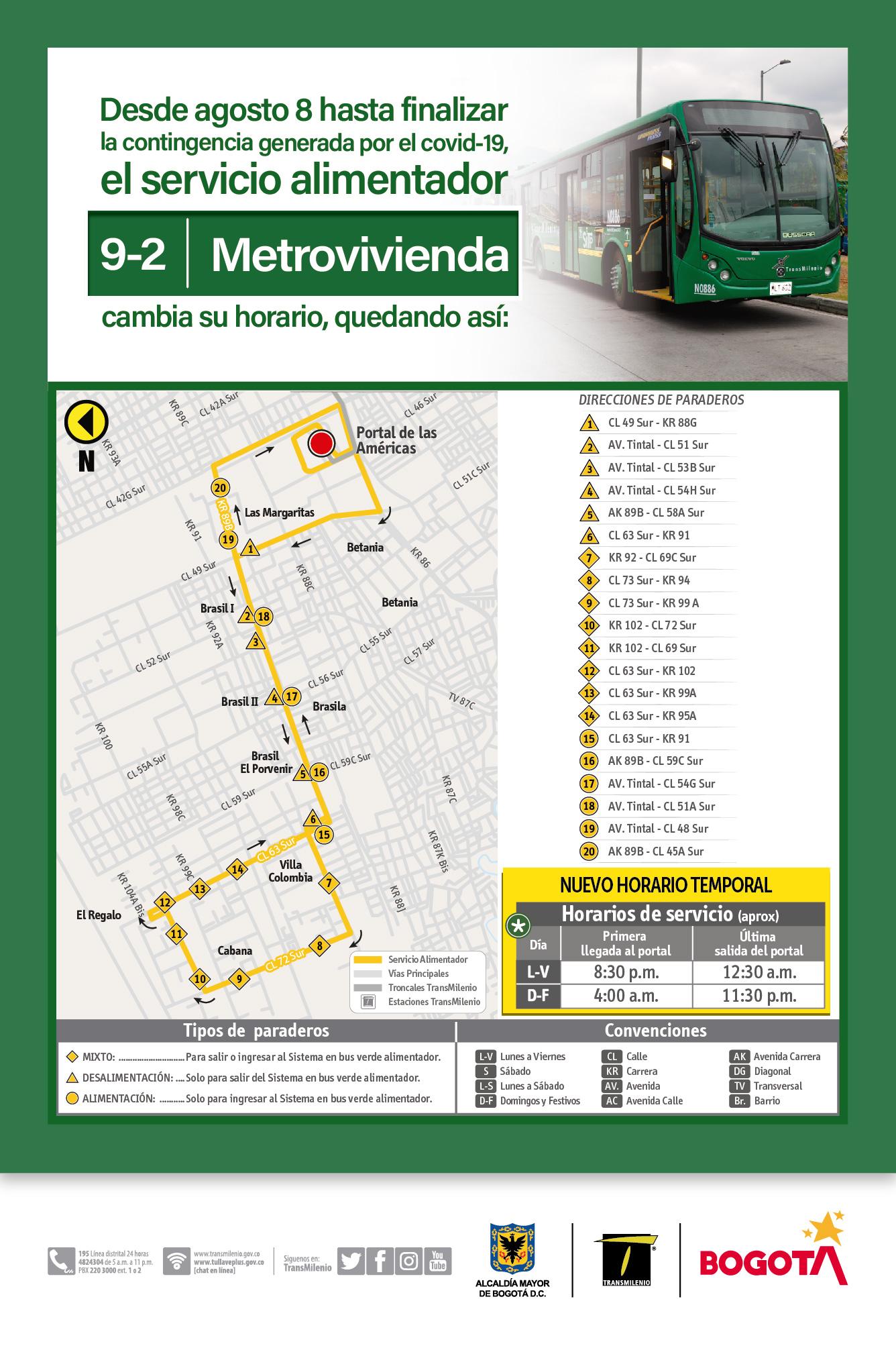 Mapa de la ruta 9-2 Metrovivienda