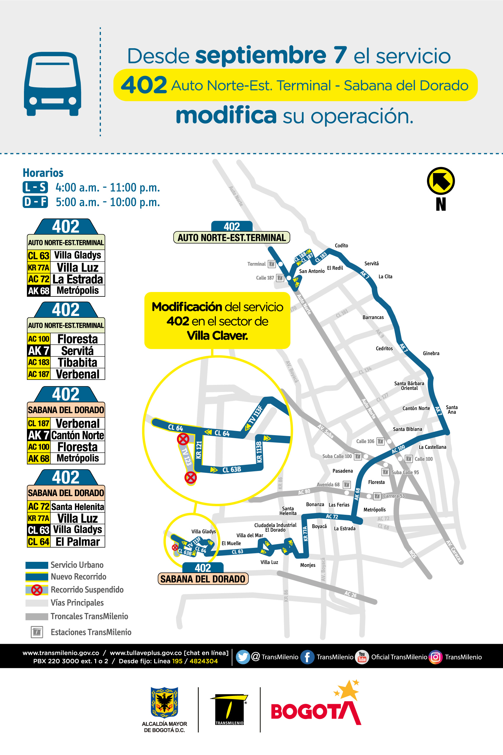 Mapa de la ruta 402 con novedades en su trayecto