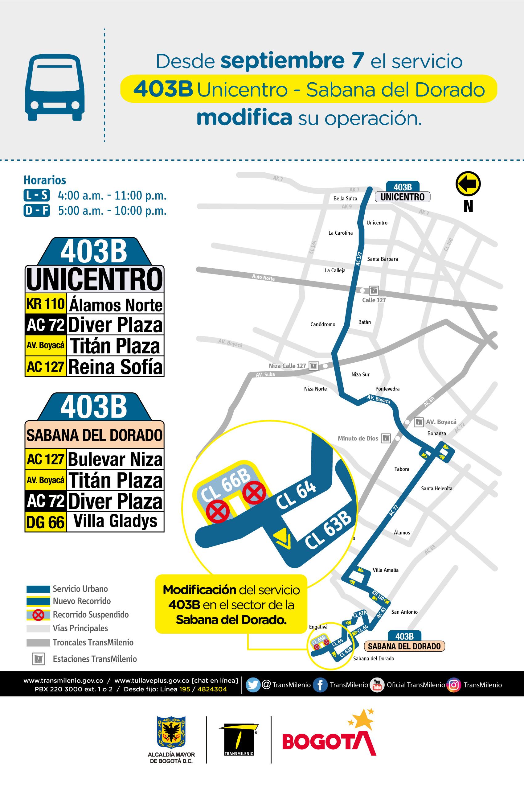 Mapa de la ruta 403B con novedades en su trayecto
