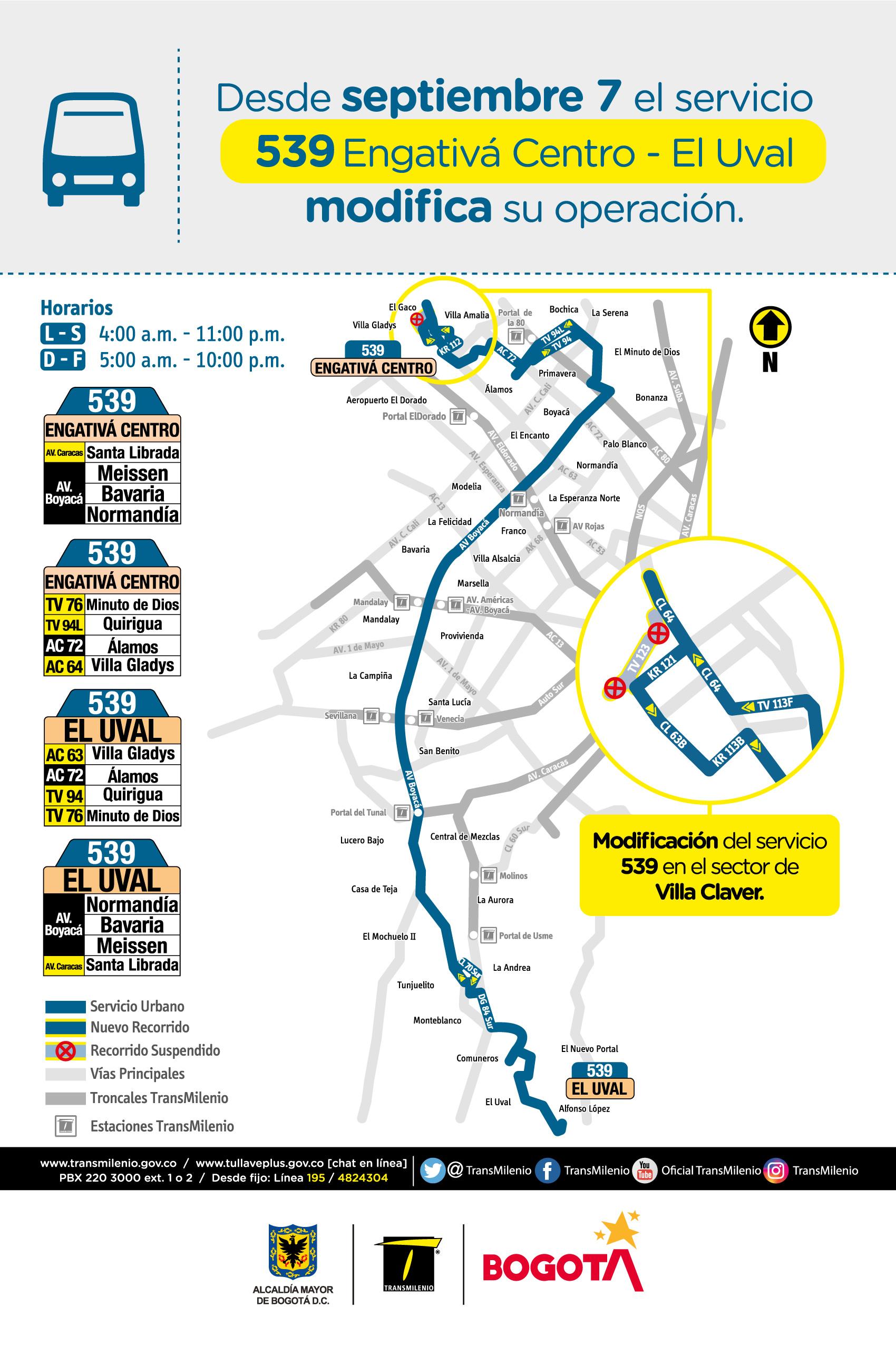 Mapa de la ruta 539 con novedades en su trayecto