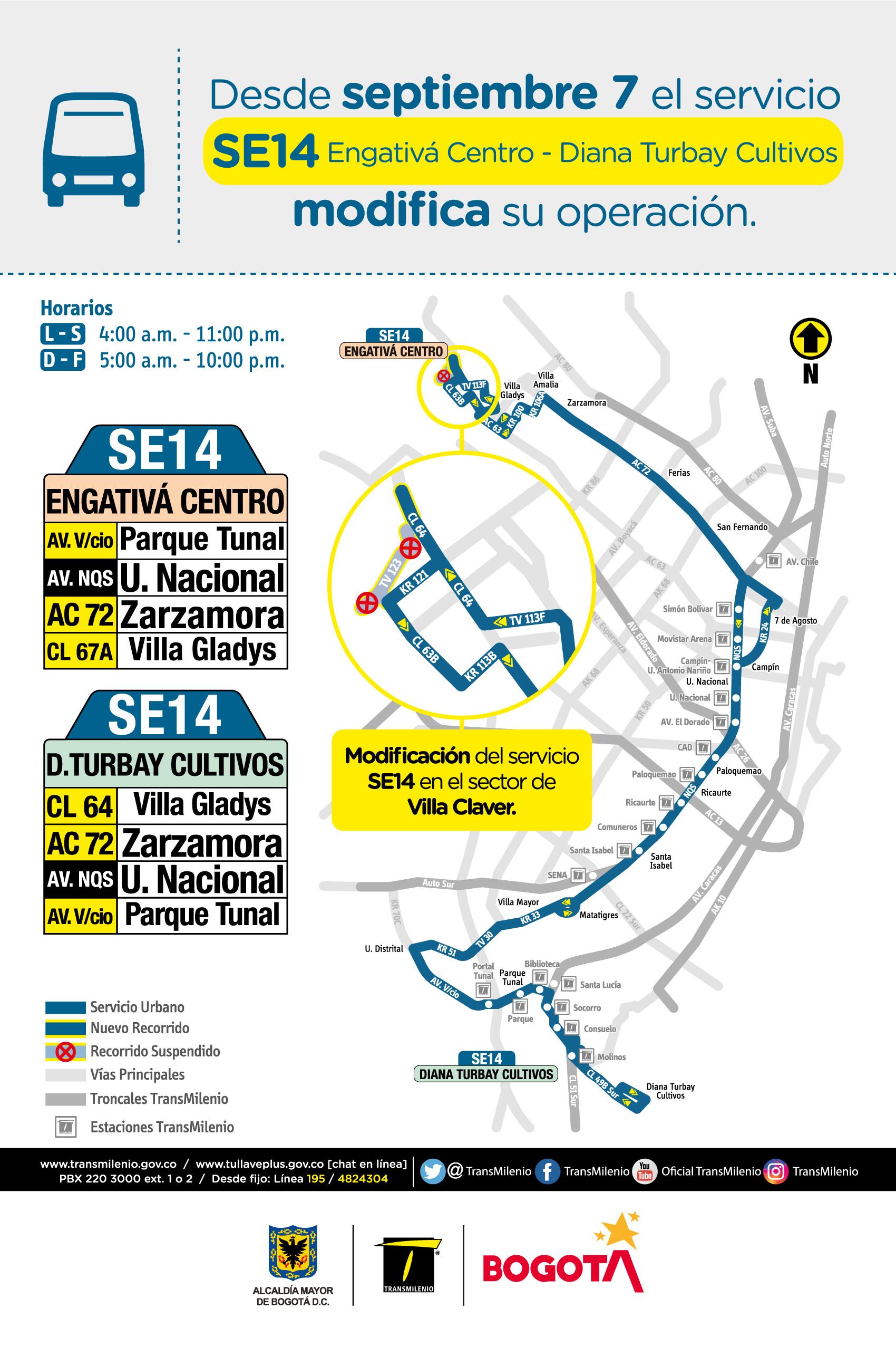 Mapa de la ruta SE14 con novedades en su trayecto