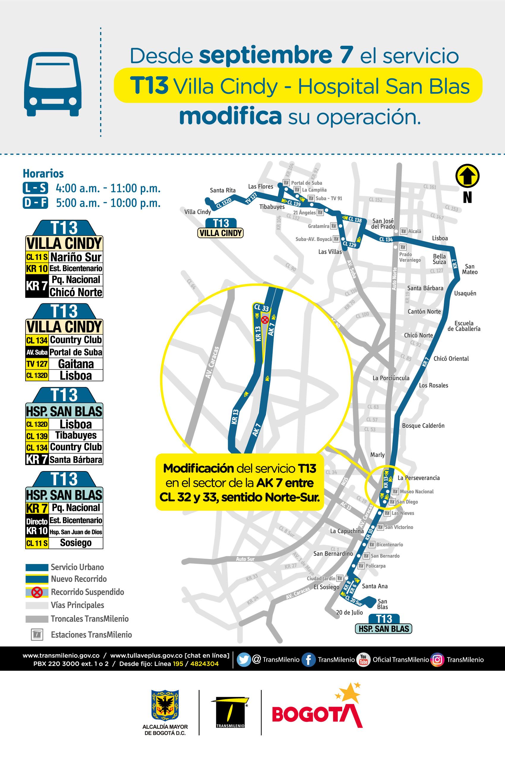 Mapa de la ruta T13 con novedades en su trayecto